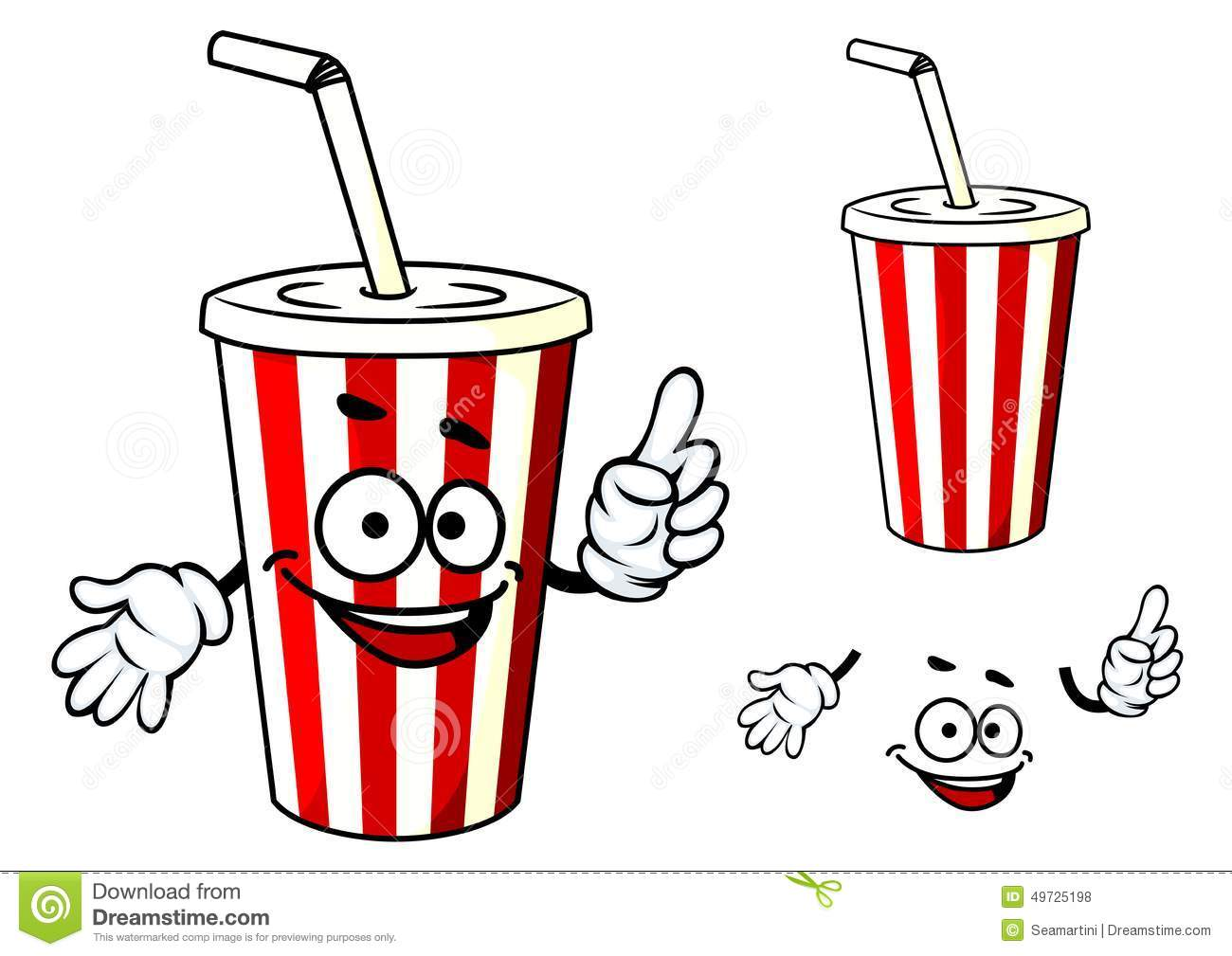 stripe soda or juice cup with happy face and stock vector