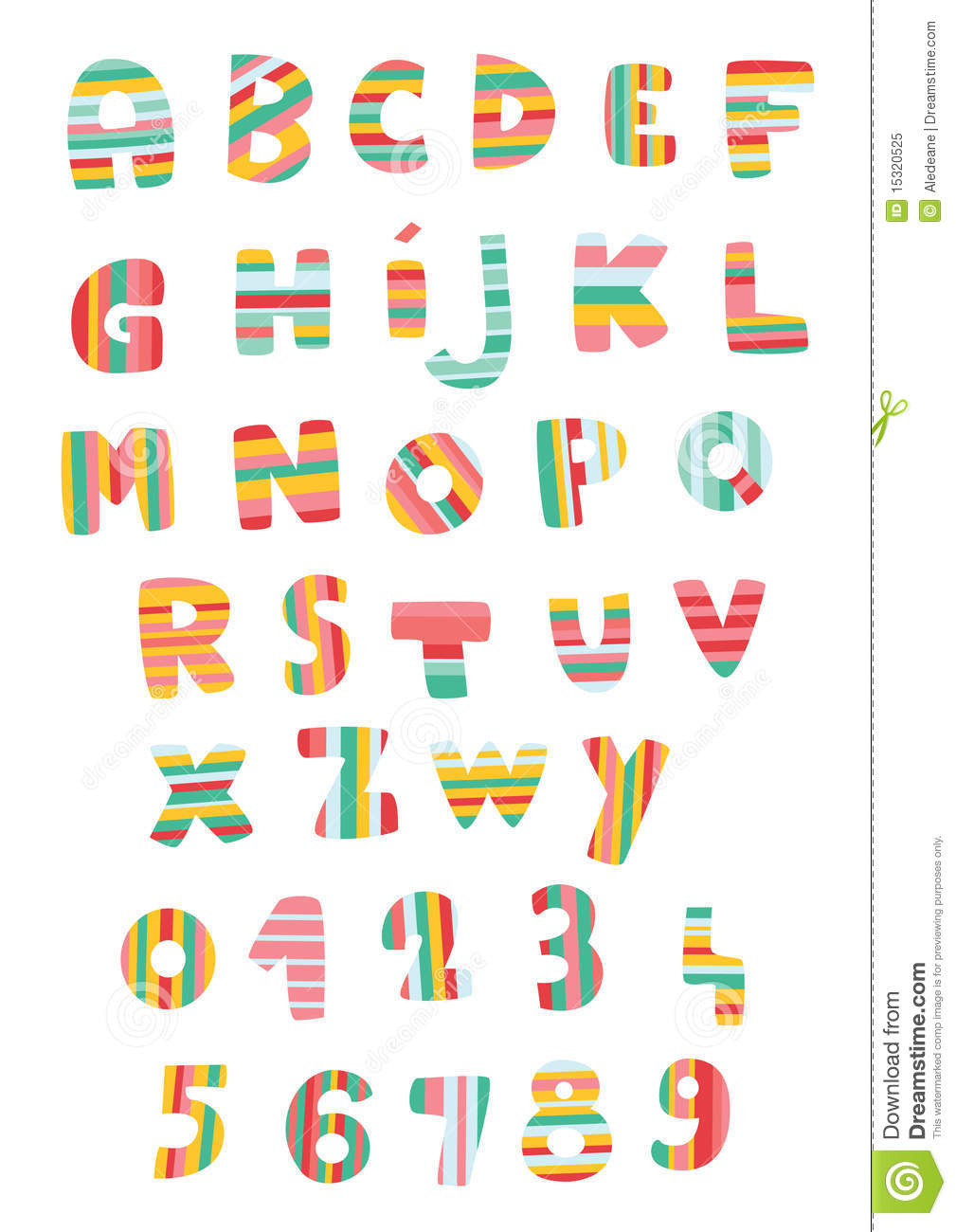 Striped Alphabet And Numbers Royalty Free Stock Photo - Image ...