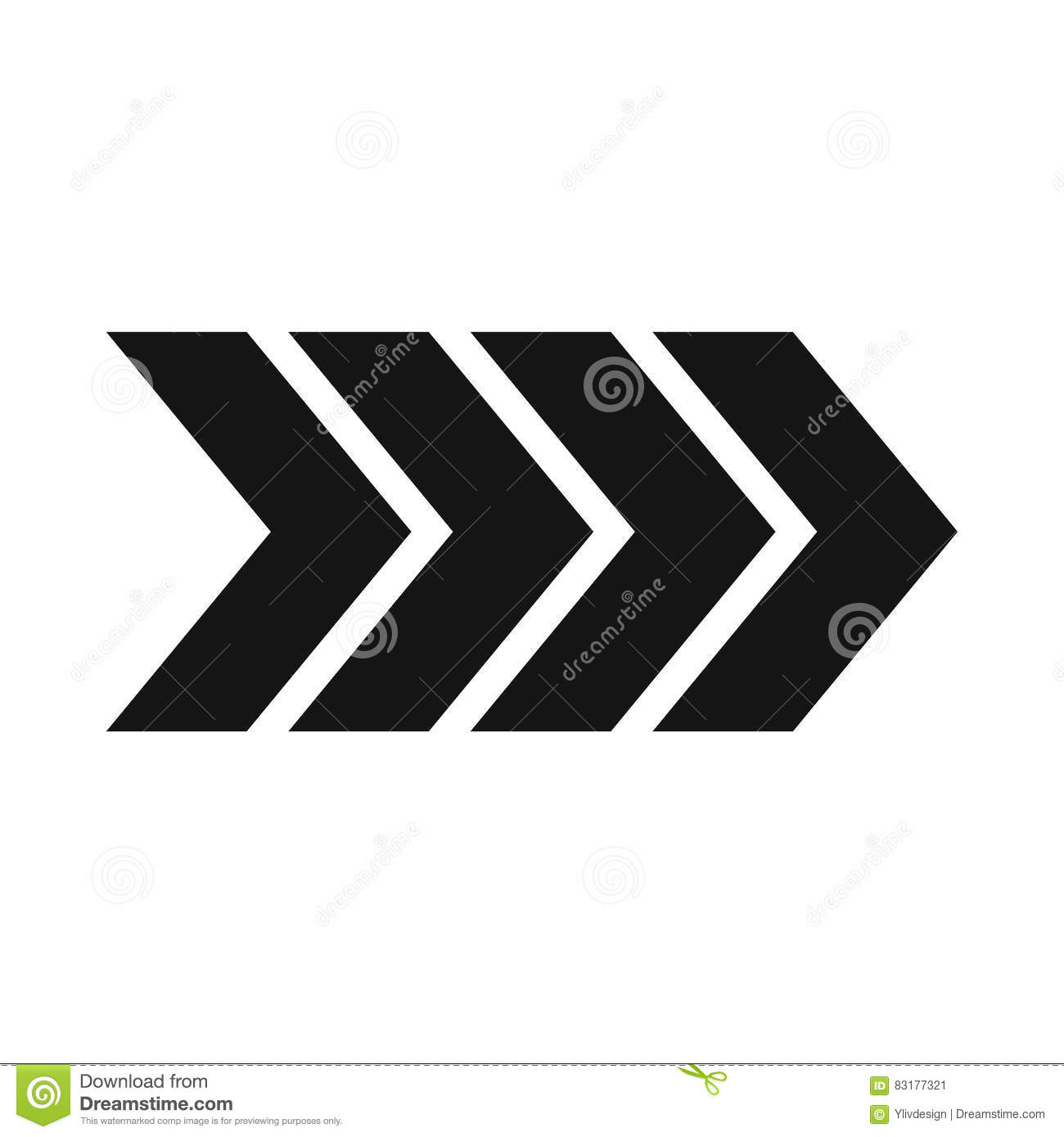 Striped Arrow Icon Simple Style Stock Vector Illustration Of