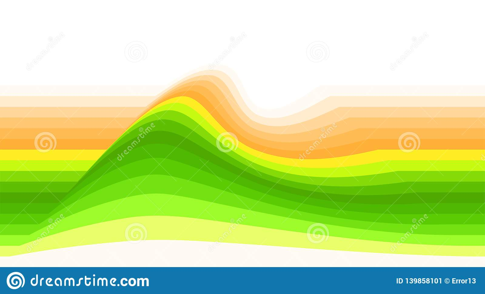 Striped Background With Yellow Green And Orange Wave Vector