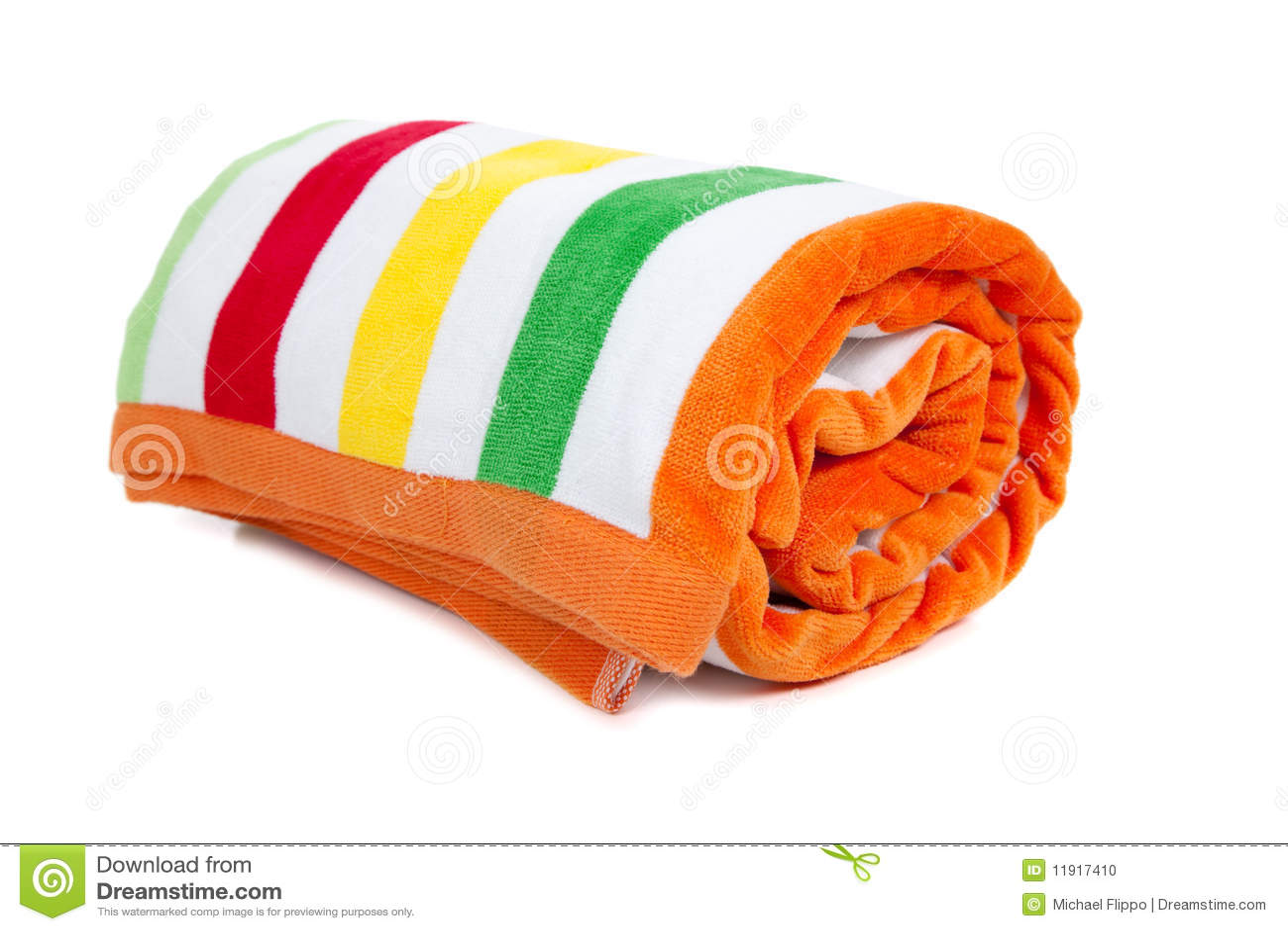 Striped beach towel on white