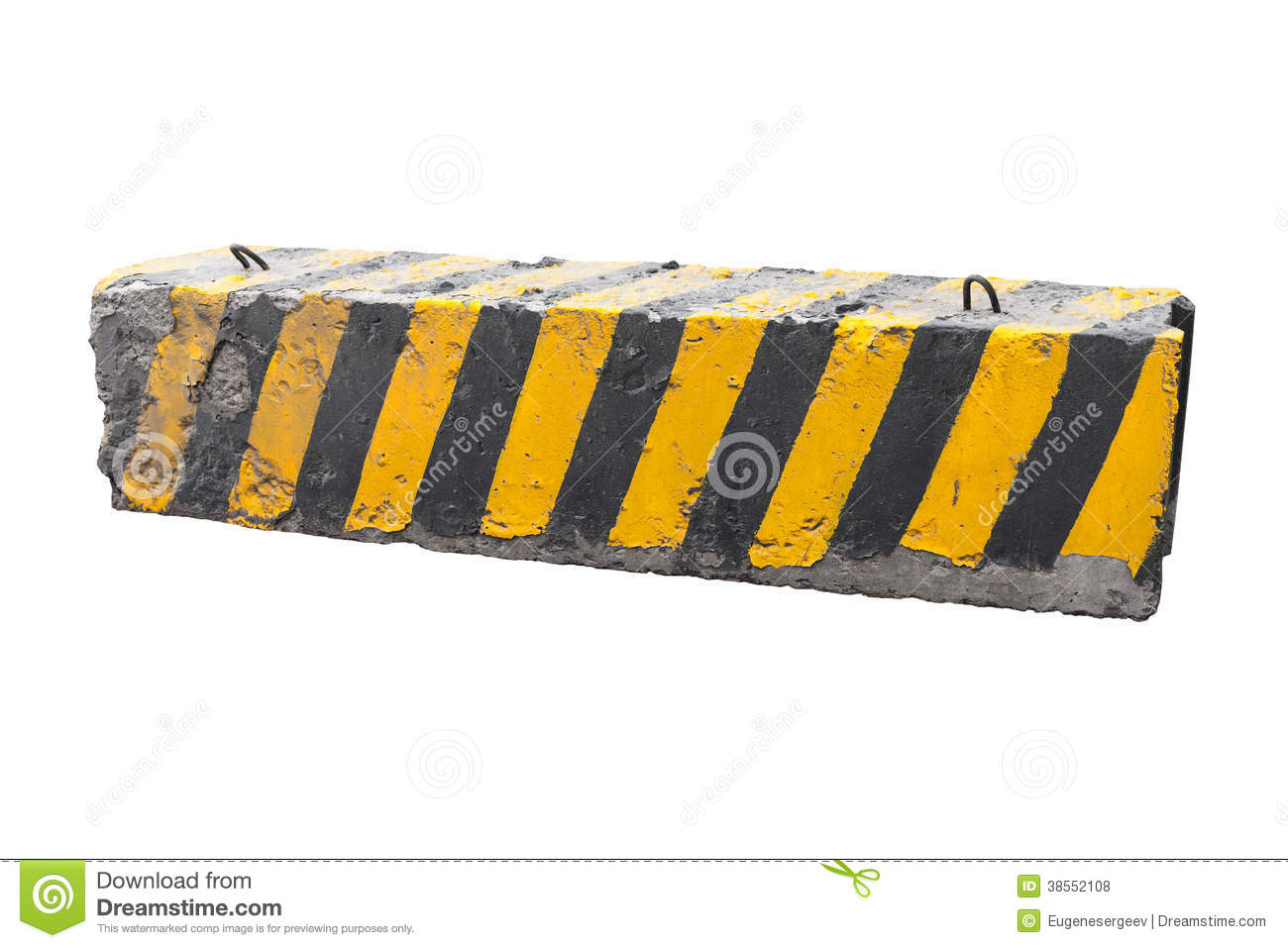 Striped black and yellow concrete road barrier stock photo