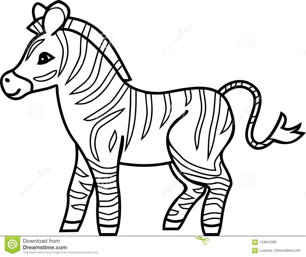Striped Cartoon Zebra Coloring Page Stock Vector ...