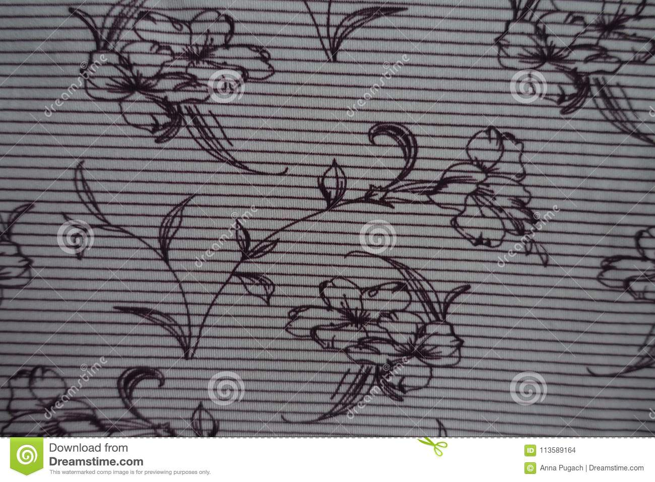 Striped Fabric With Floral Print Stock Photo Image Of Thin Floral