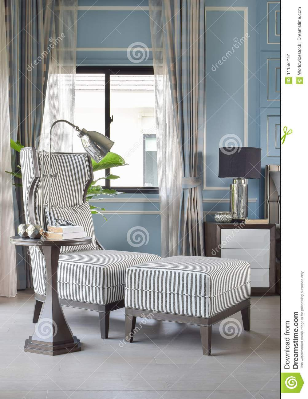 Striped High Back Armchair With Ottoman In Blue Classic Bedroom
