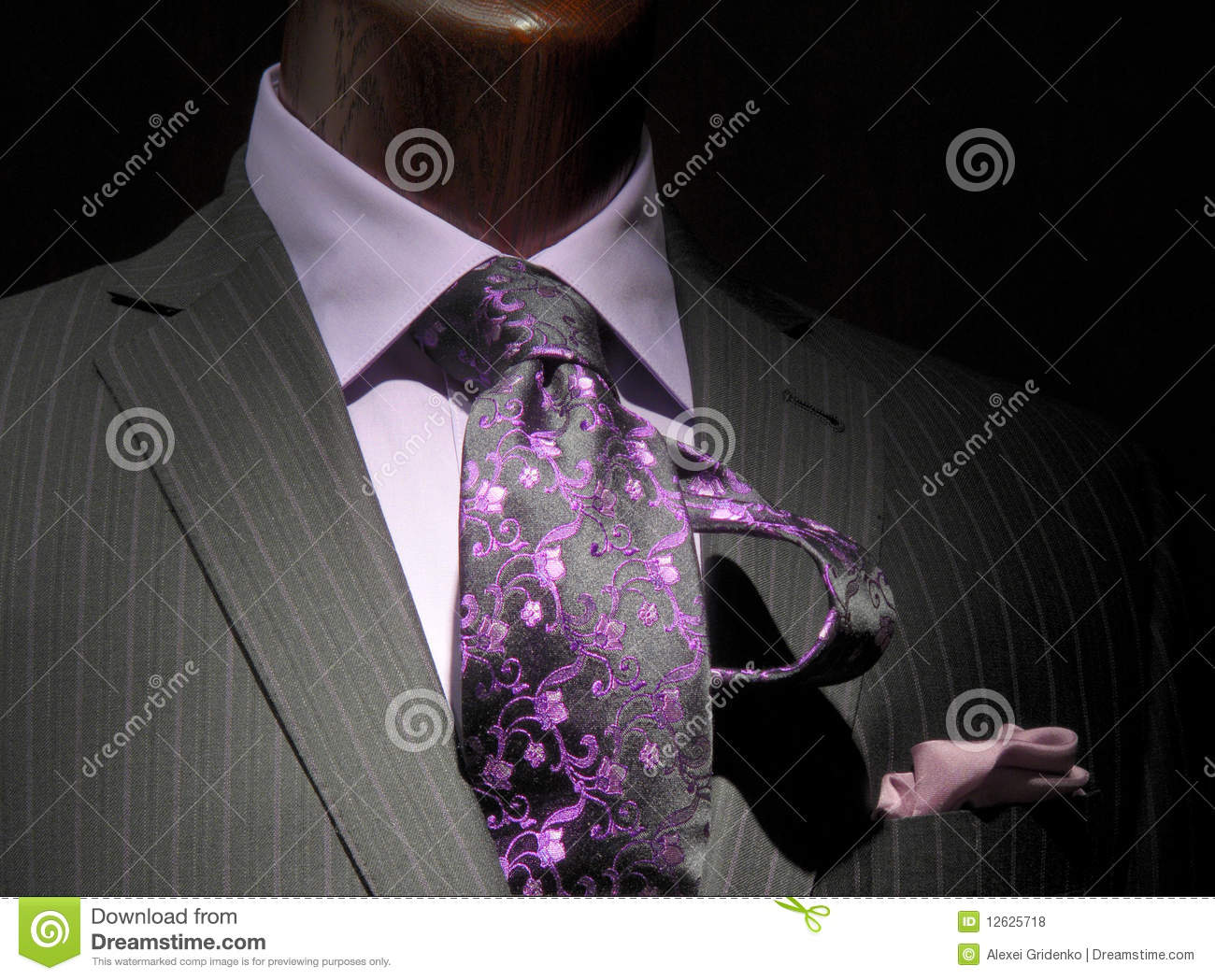 Striped Jacket With Purple Shirt Tie Stock Photo Image