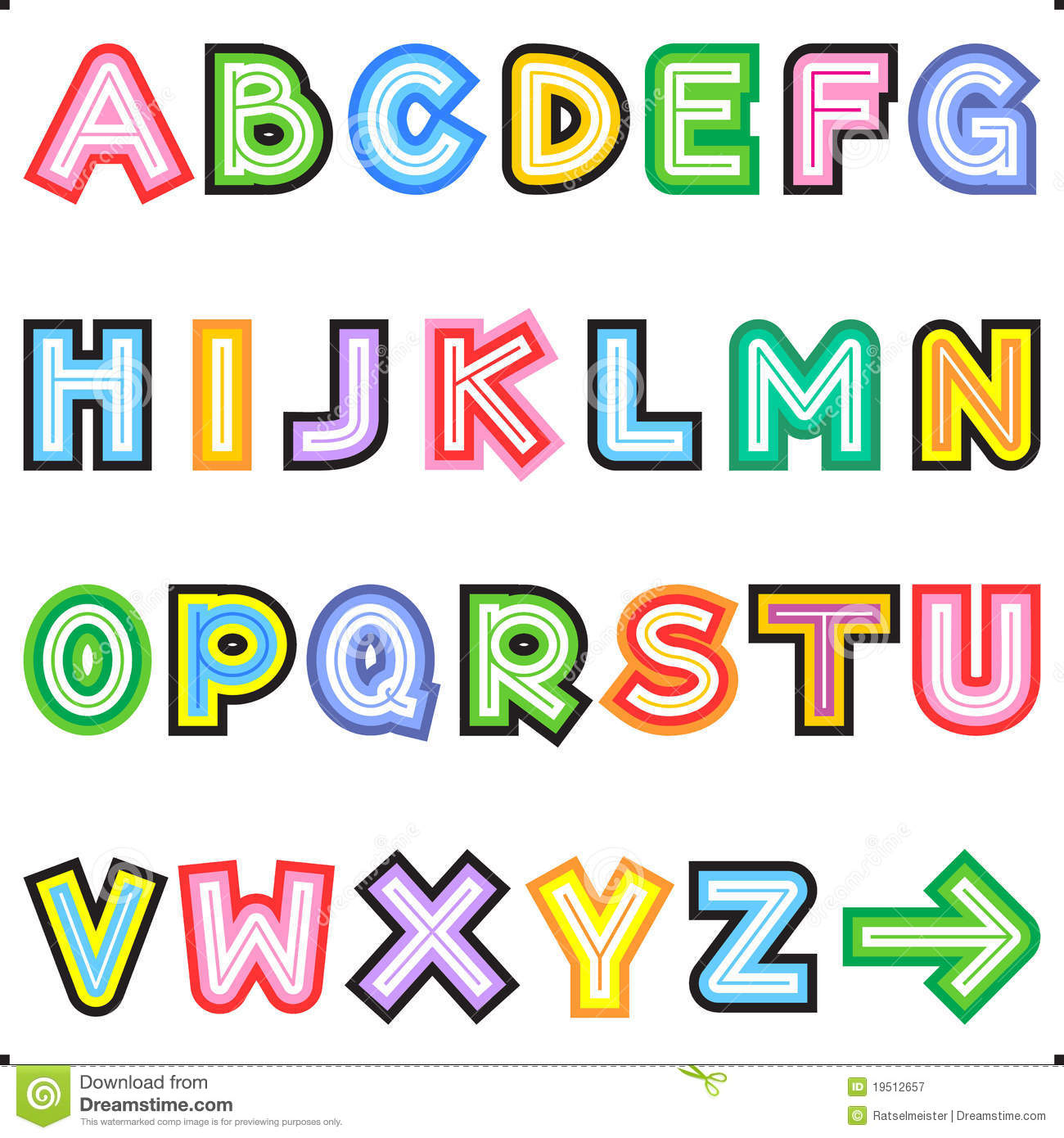 Striped letters alphabet set royalty free stock for Alphabet photo letters