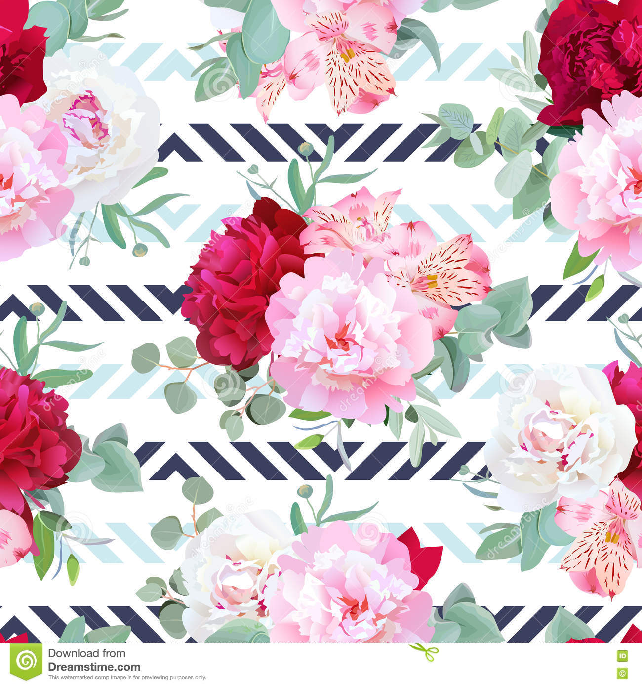 Muted Blue And Floral Red: Striped Navy And Light Blue Floral Seamless Vector Print