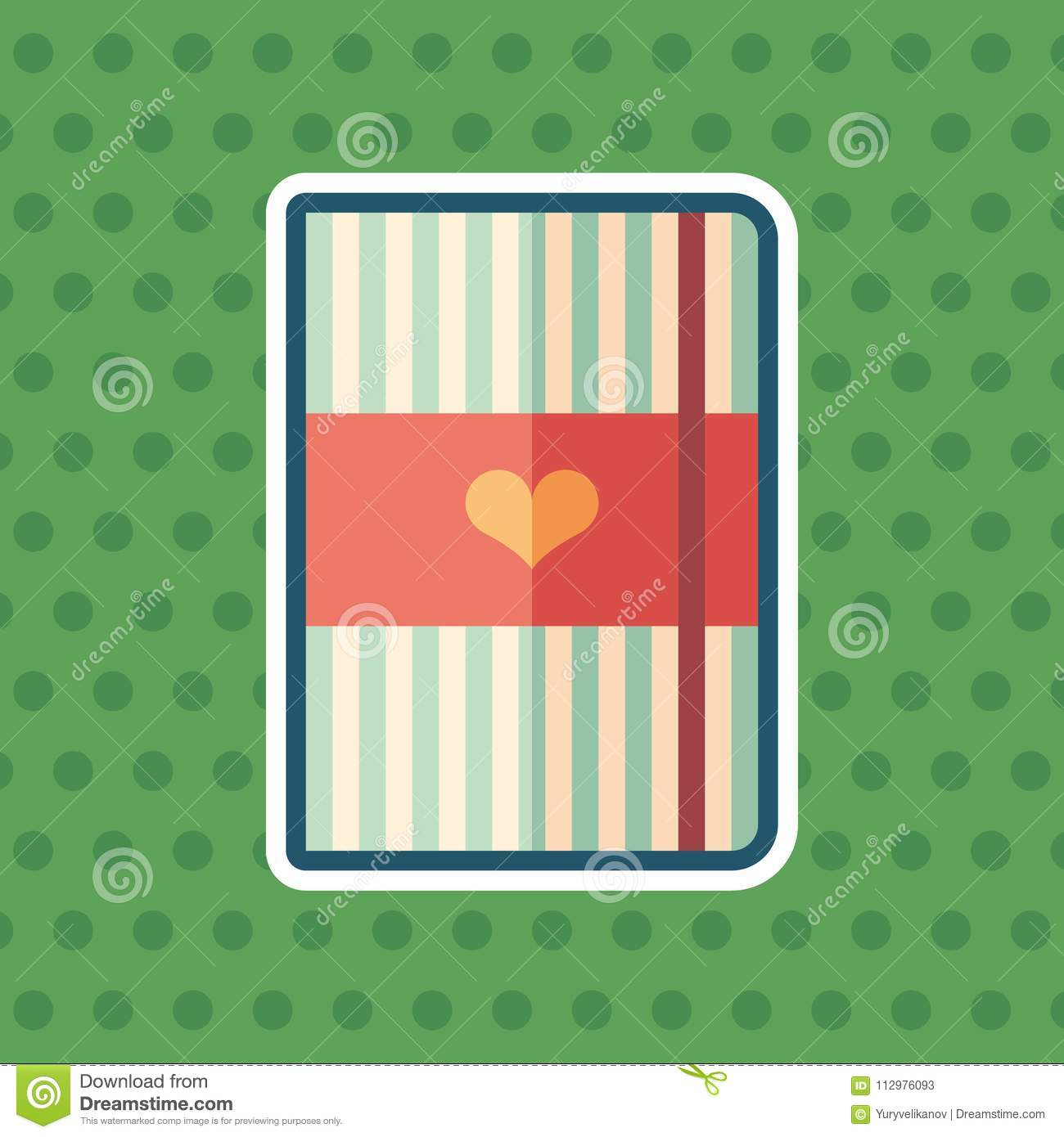 Striped notepad with heart sticker flat icon with color background.