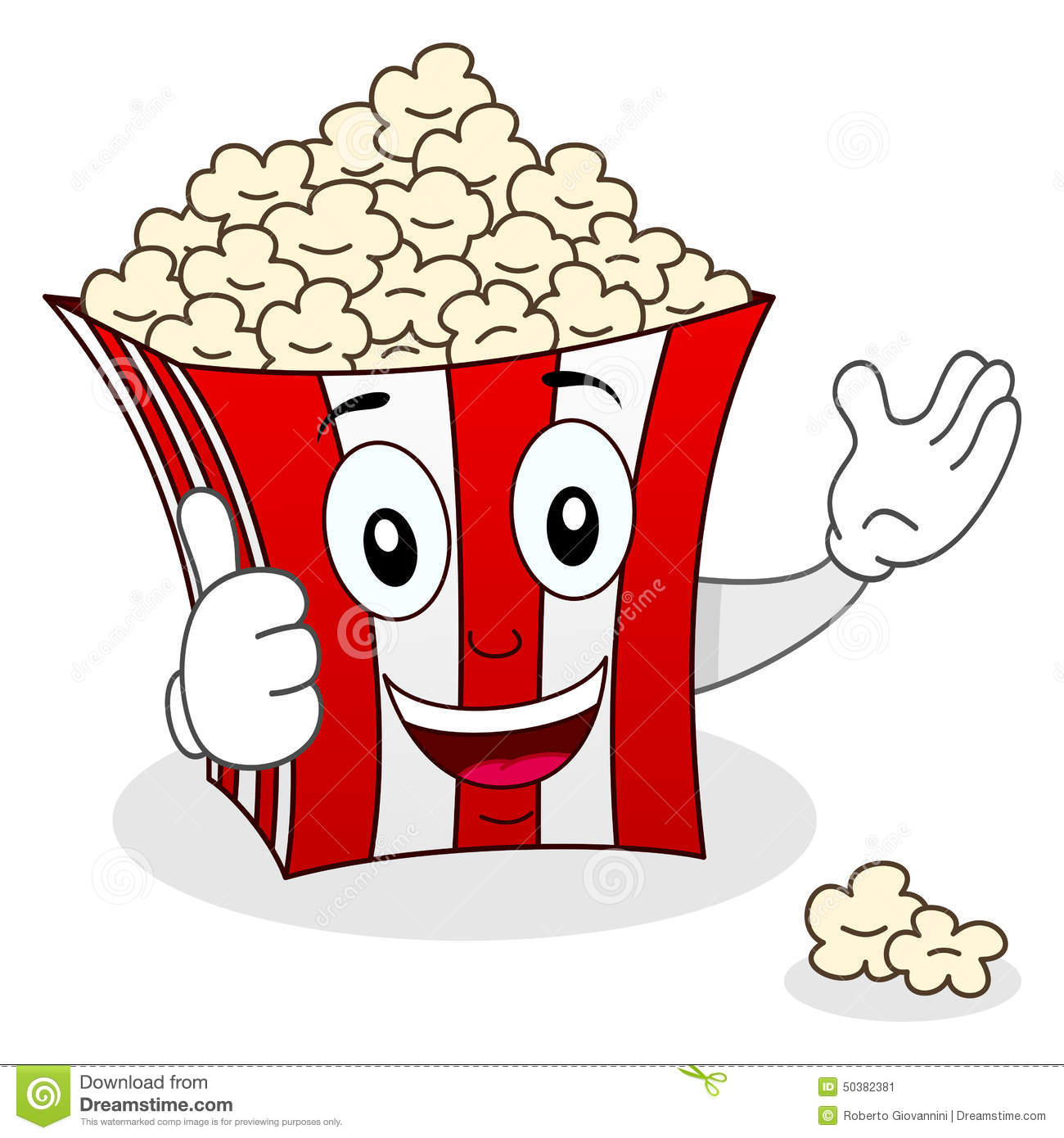 Striped Popcorn Bag Character Smiling Stock Vector - Image: 50382381