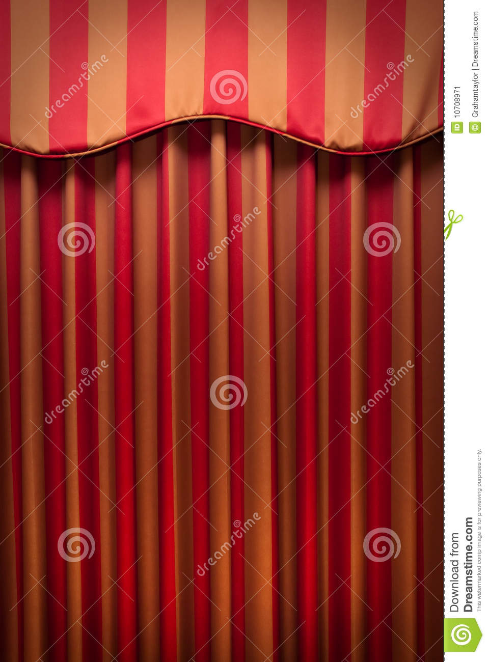 Striped Red And Gold Curtains Stock Image Image