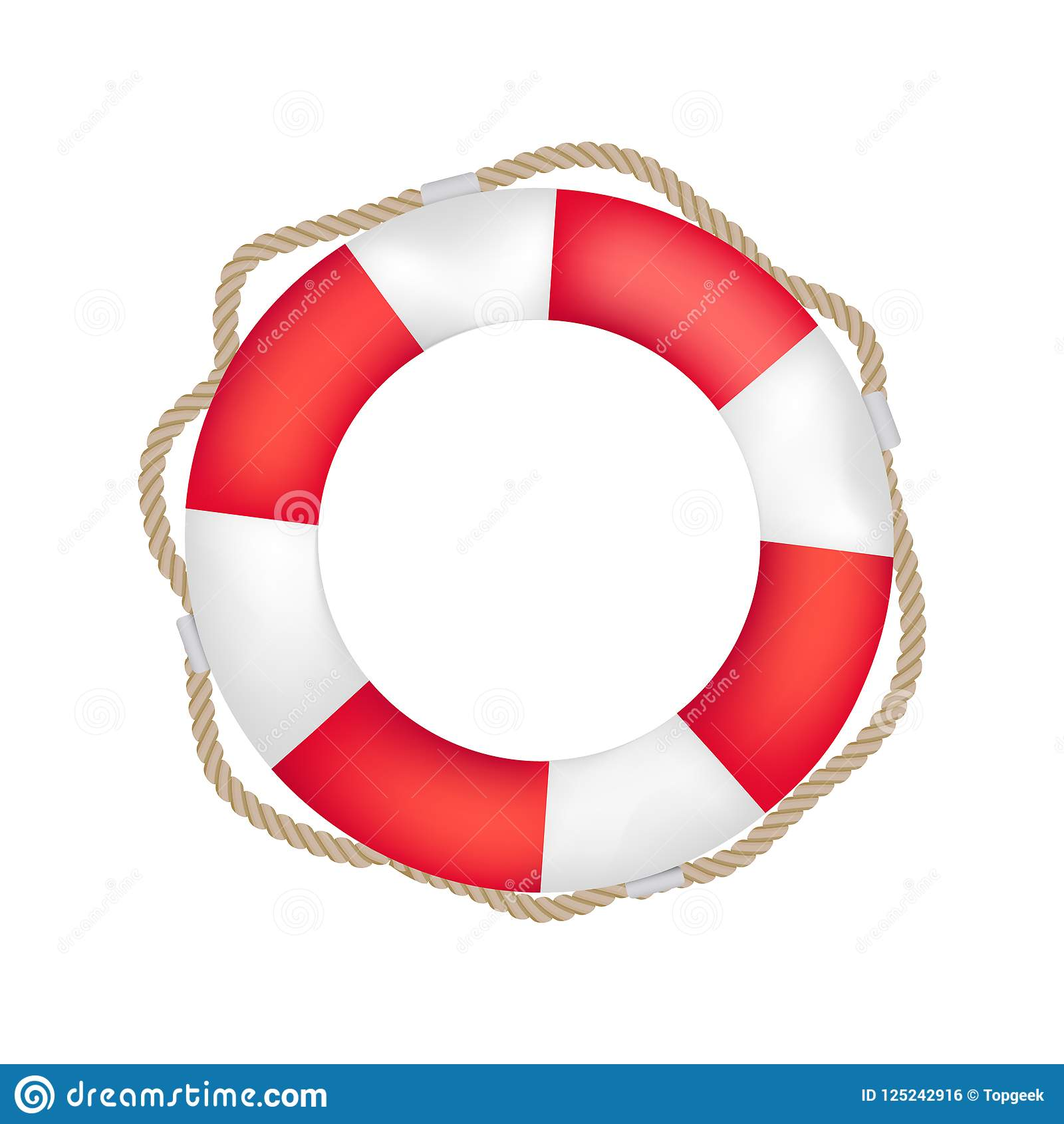 3f366151f4d Striped red and white lifebuoy with rope around. Equipment for safety in  water. Standard inflatable ring