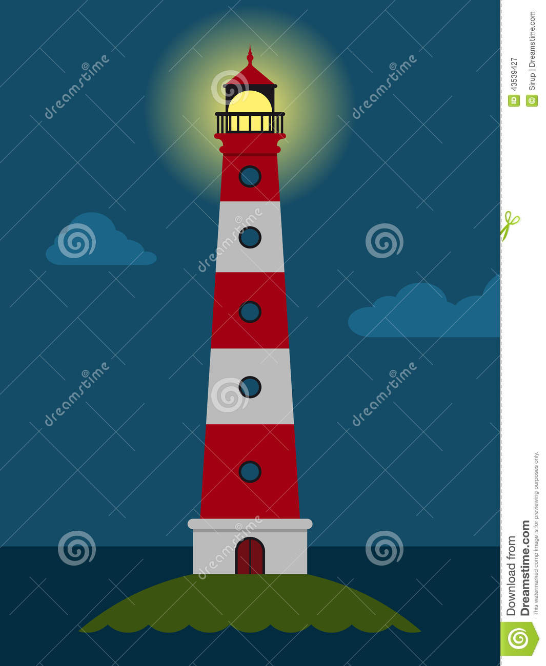 Striped Red And White Lighthouse At Night Stock Vector