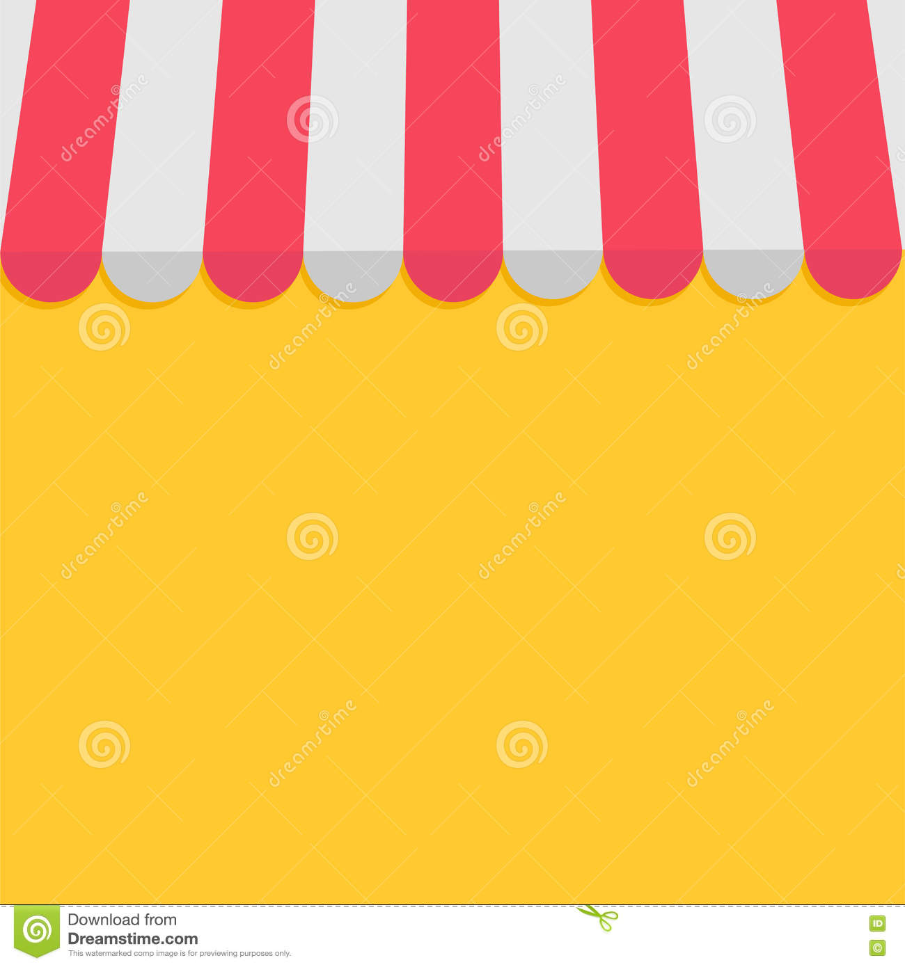 Striped Store Awning For Shop Marketplace Cafe And Restaurant Red White Canopy Roof Flat Design Yellow Background Stock Vector Illustration Of Retail Showcase 77958353