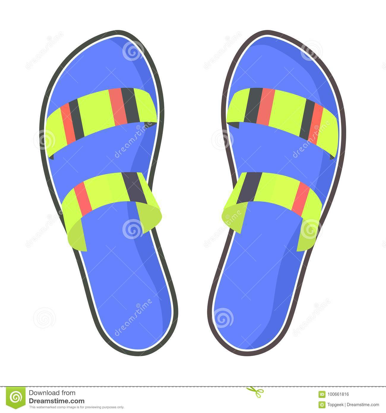280e97d3a Striped summer flip-flops with blue footbed isolated on white background.  Women comfortable footwear for fresh look and beach walks.