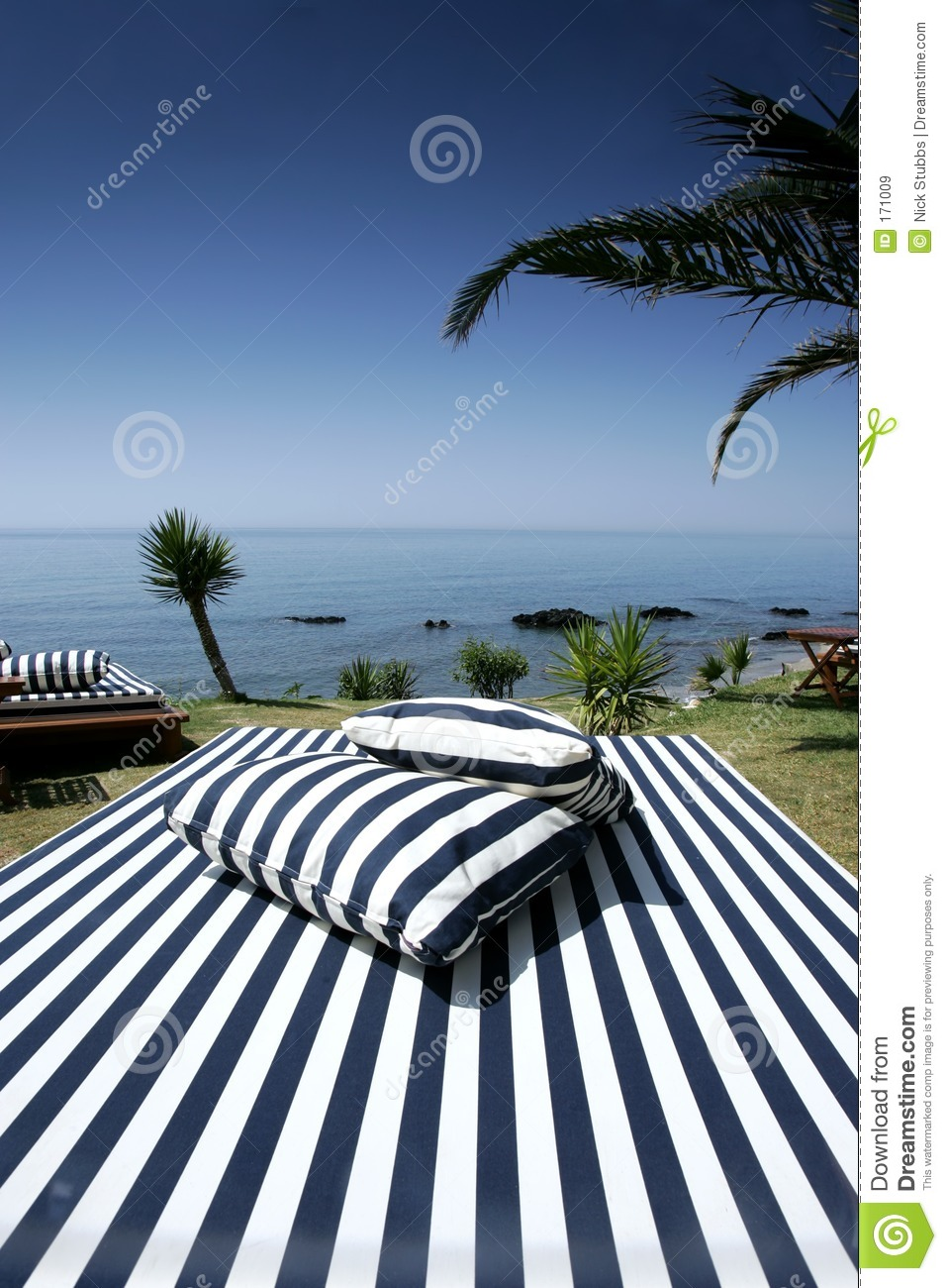 Striped Sunlounger and sunny sea views