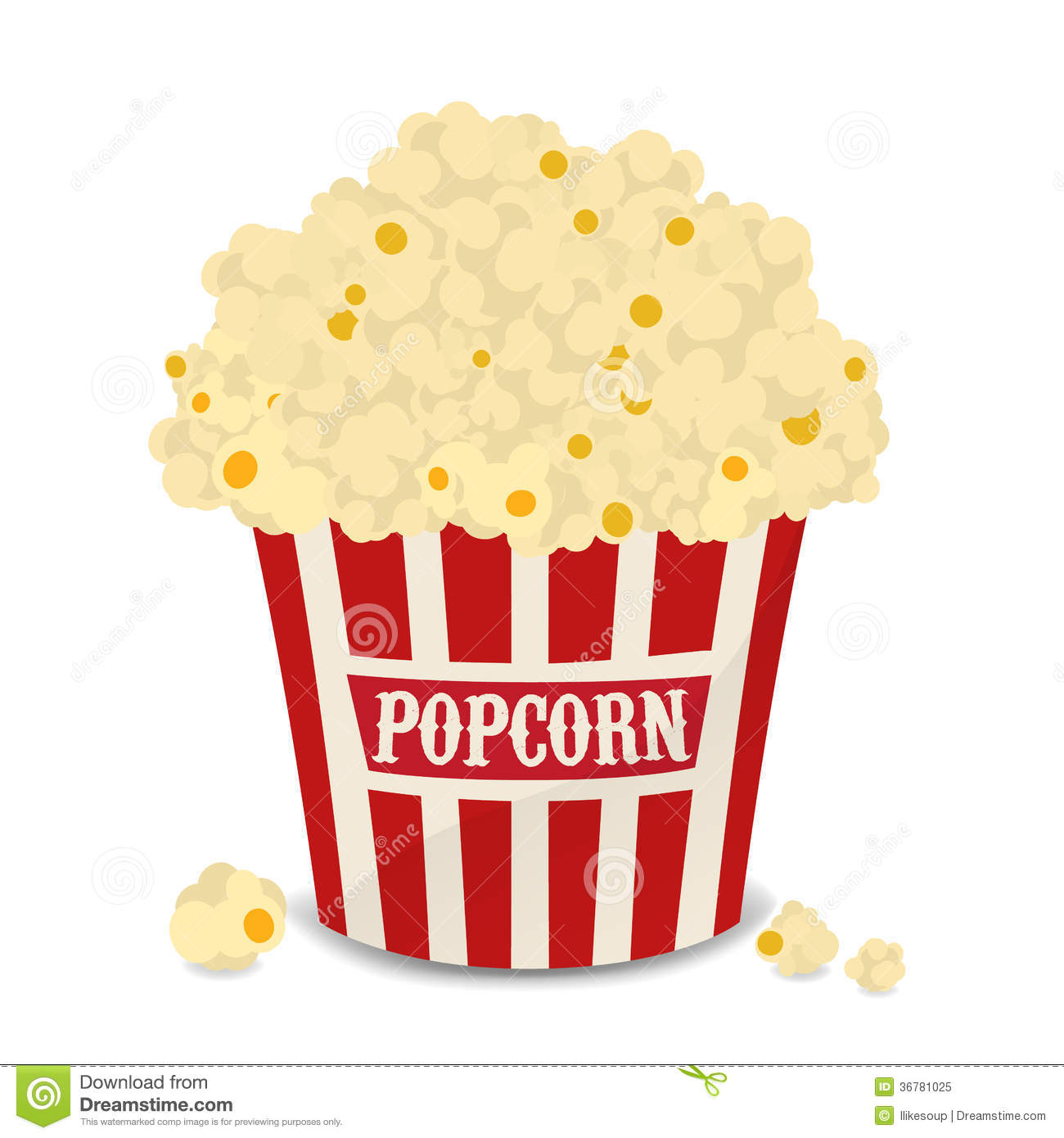 Striped Vector Bag Of Popcorn Isolated On White Royalty Free Stock ...