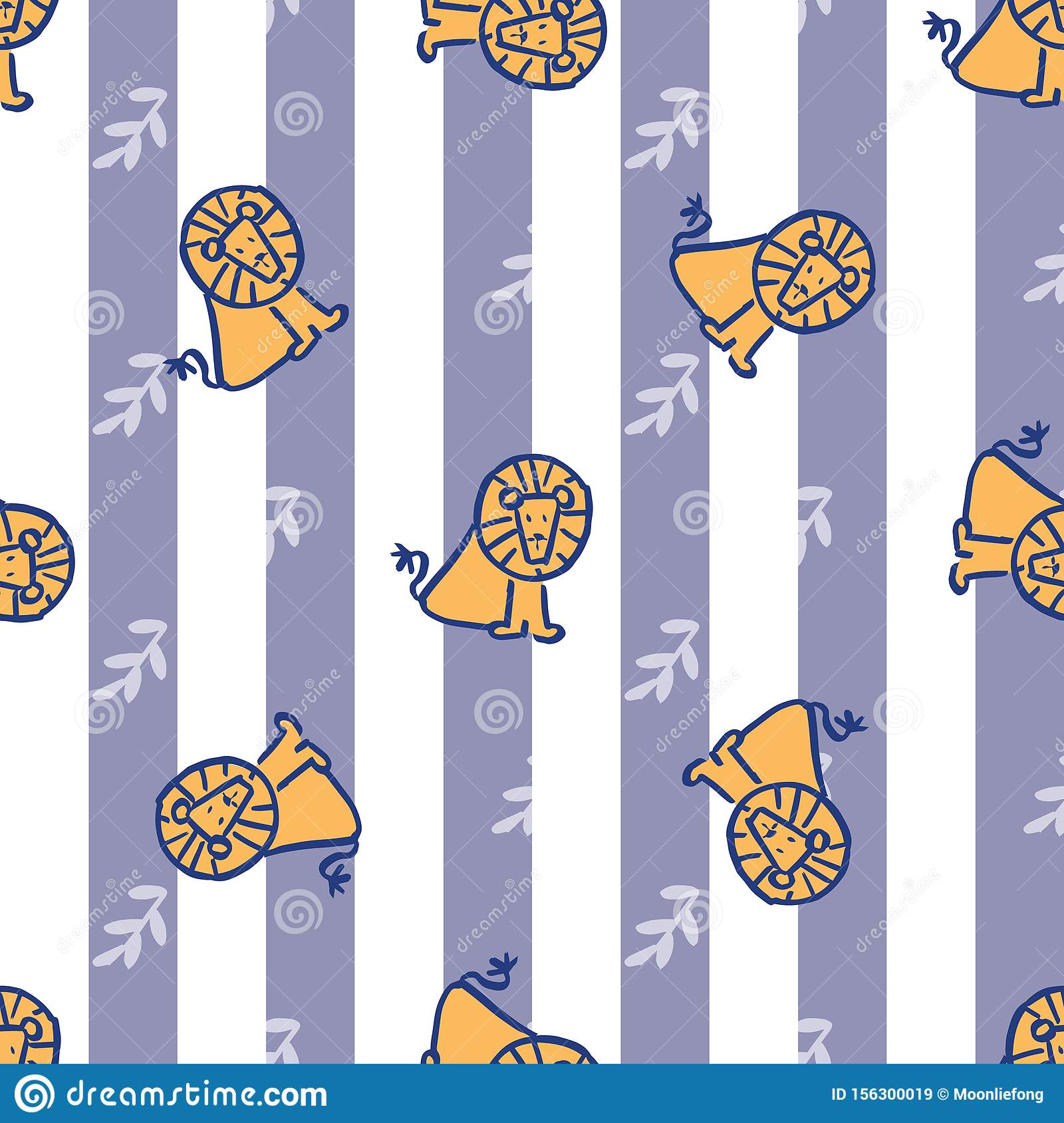 Stripes leave lion seamless repeat pattern.