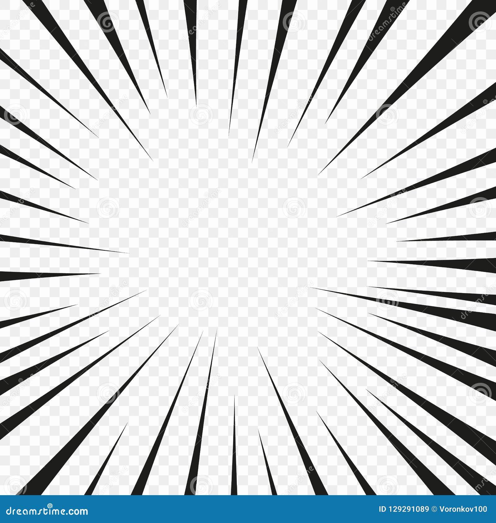 Strippagina de radiale lijn van de flitsexplosie op de transparante geïsoleerde achtergrond De ontploffingsgloed van de flitsstra