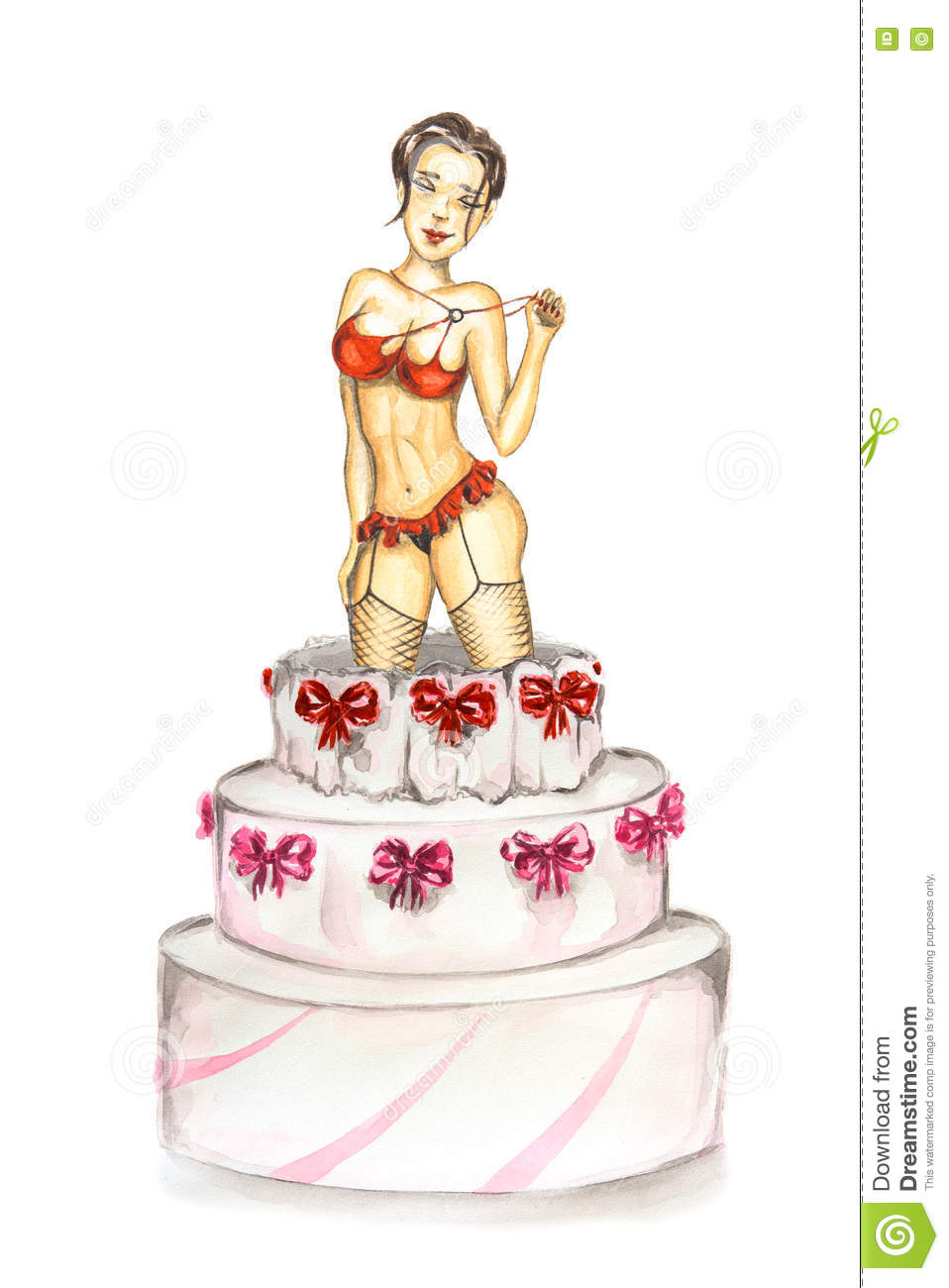 Awesome Stripper Out Of Cake Stock Illustration Illustration Of Birthday Funny Birthday Cards Online Alyptdamsfinfo
