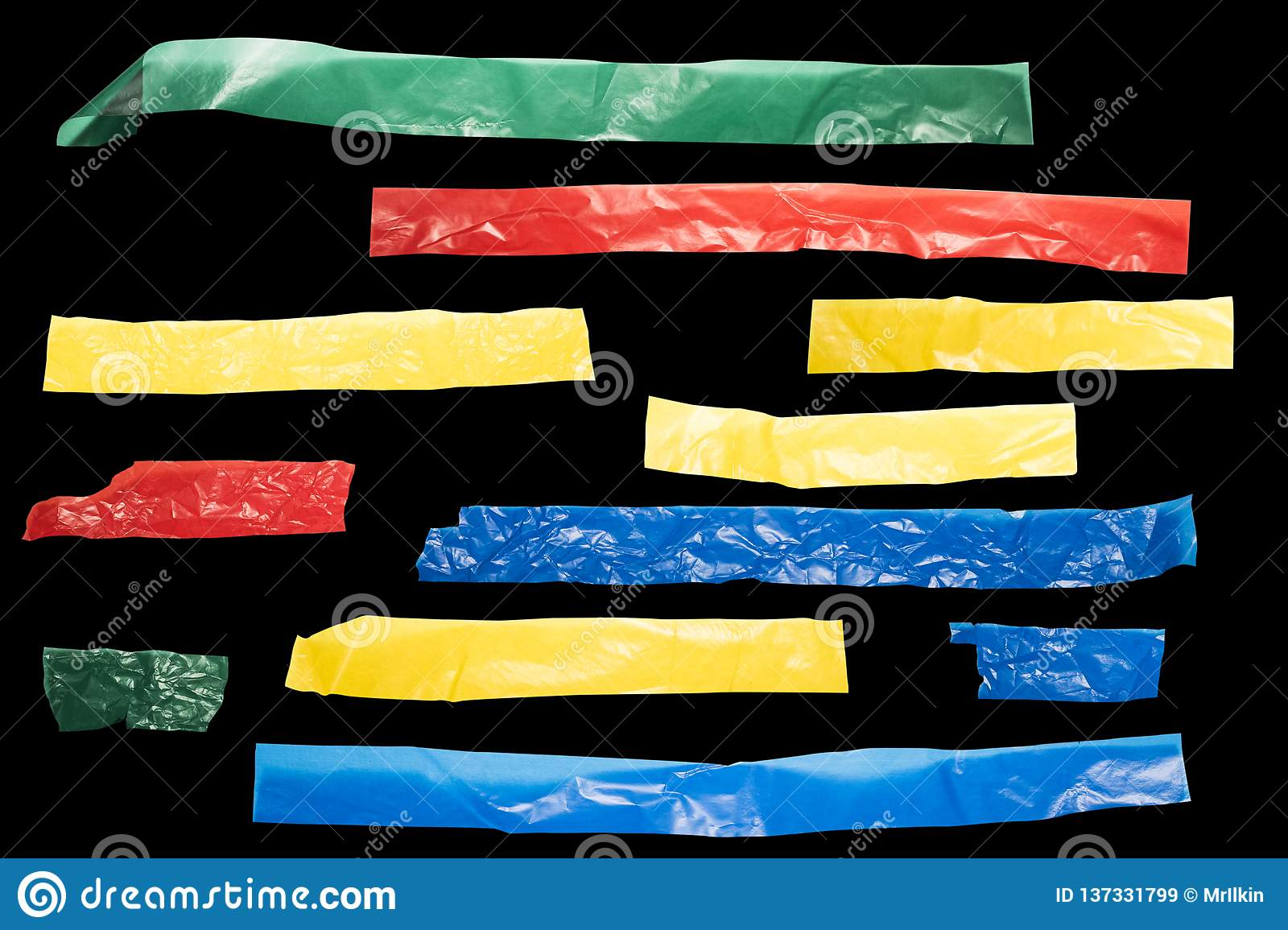 Strips of colored tape on a black background for lower third