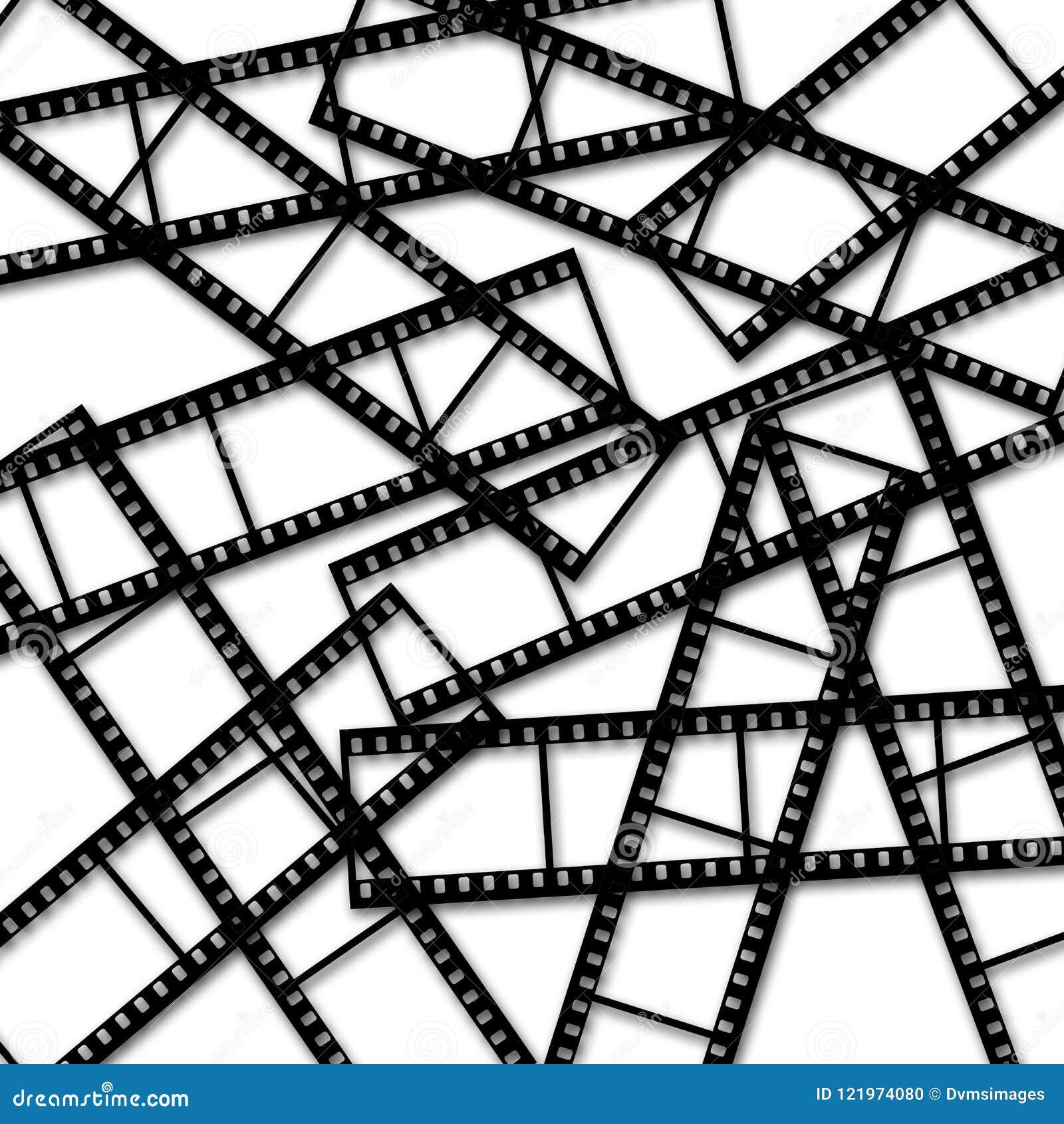 Strisce di pellicola astratte su fondo bianco
