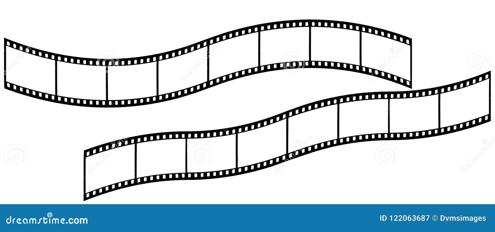 Strisce di pellicola curve lunghe su fondo bianco