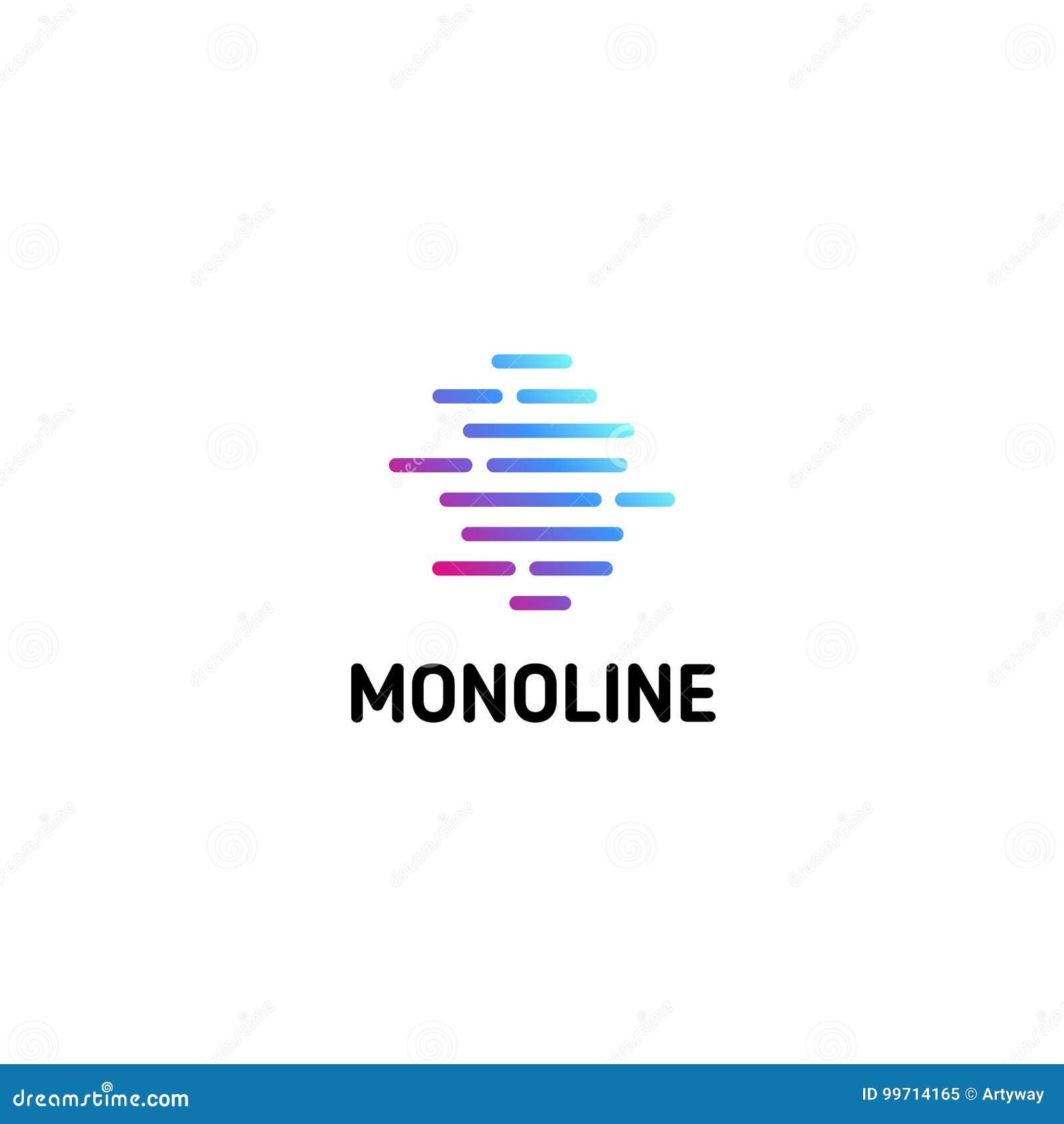 Strisce punteggiate orizzontale Linea isolata modello di logo di arte Logotype lineare astratto Icona geometrica variopinta profi