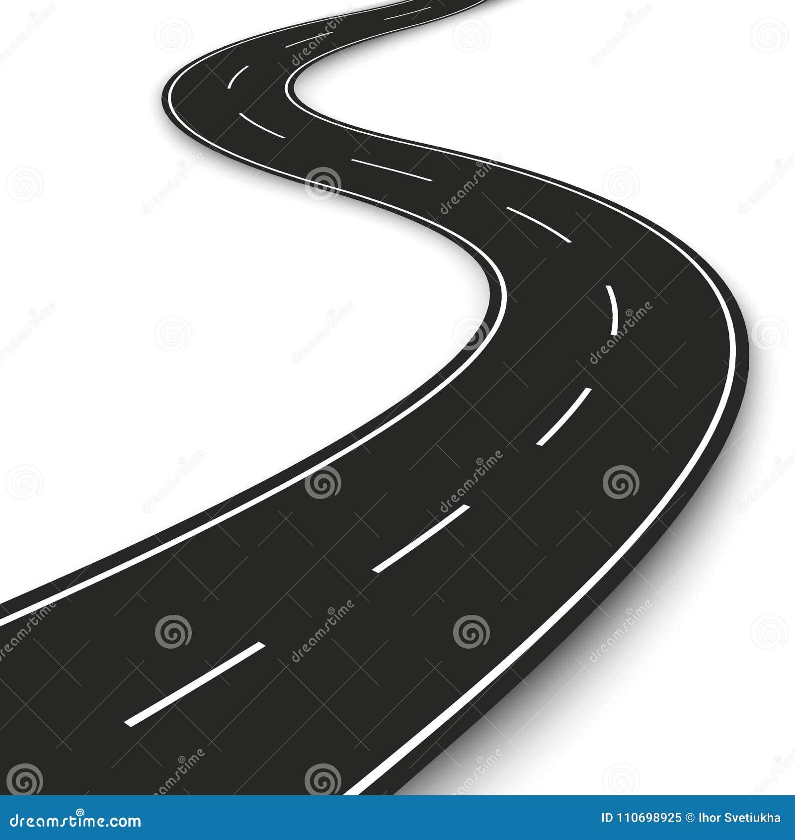 Striscia ondulata della strada Progettazione del modello della striscia della strada principale per infographic e l insegna Illus