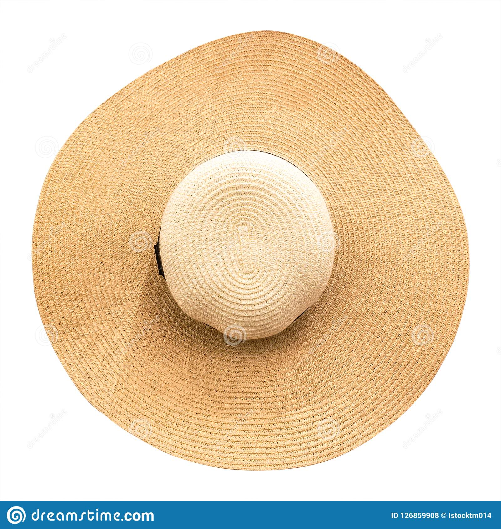 Strohoed met lint op witte achtergrond wordt geïsoleerd die Hoogste mening van manierhoeden in de zomerstijl Knippende weg