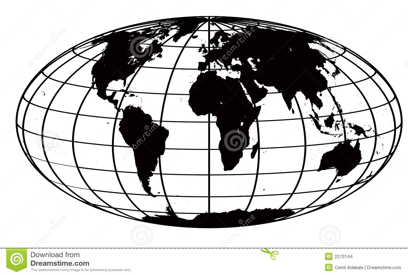 world black and white stroke and black world map