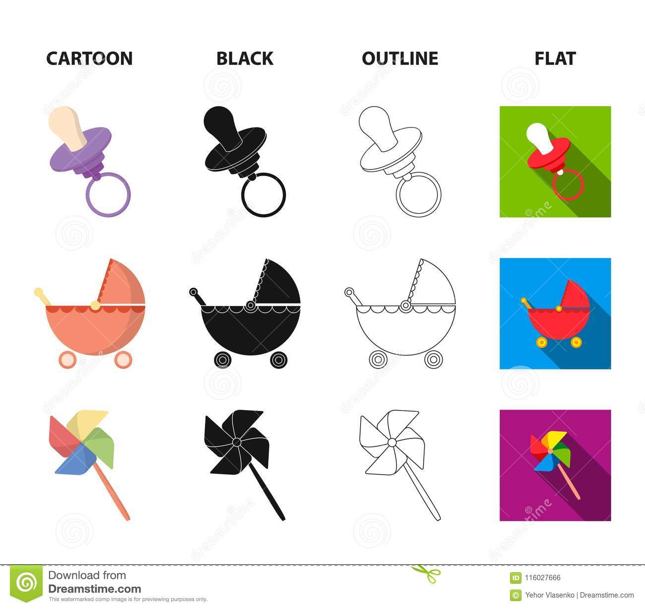 Stroller, Windmill, Lego, Balloons Toys Set Collection Icons