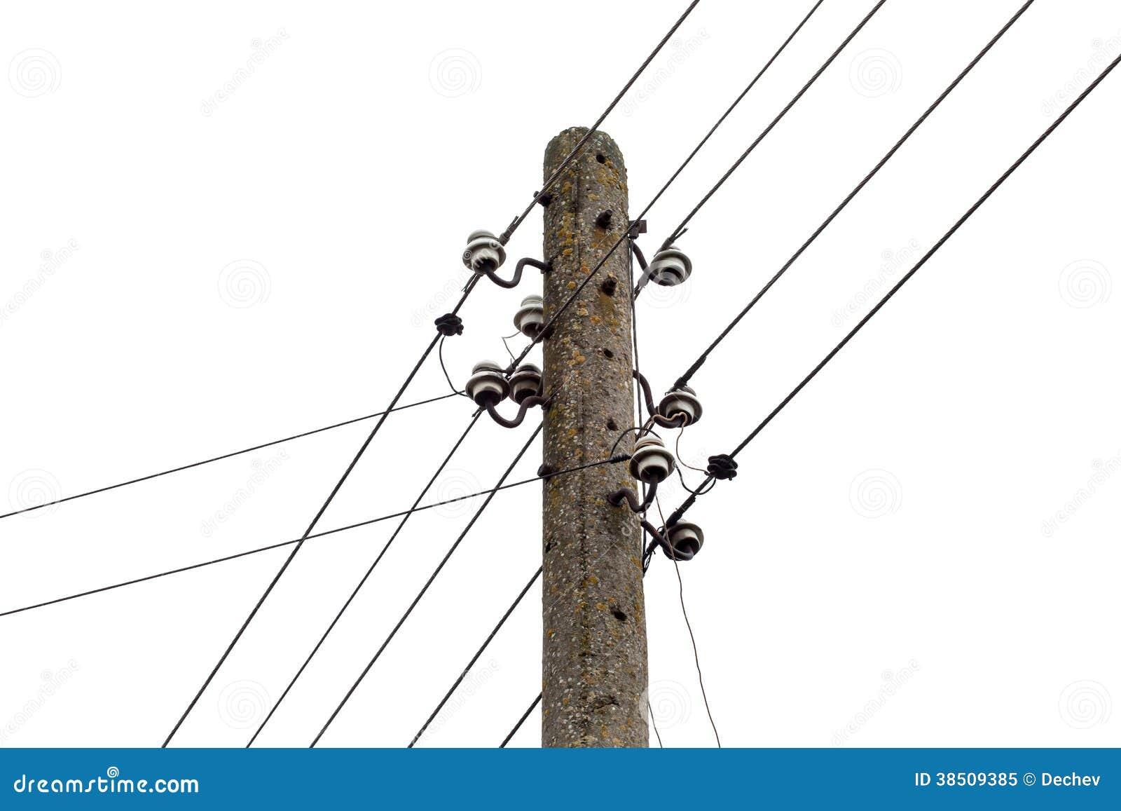 Strombeitrag mit Drahtlinien. Elektrische Verteilung der Energie
