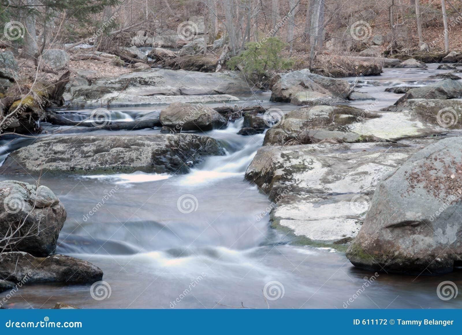 Stromende rivier en watervallen.