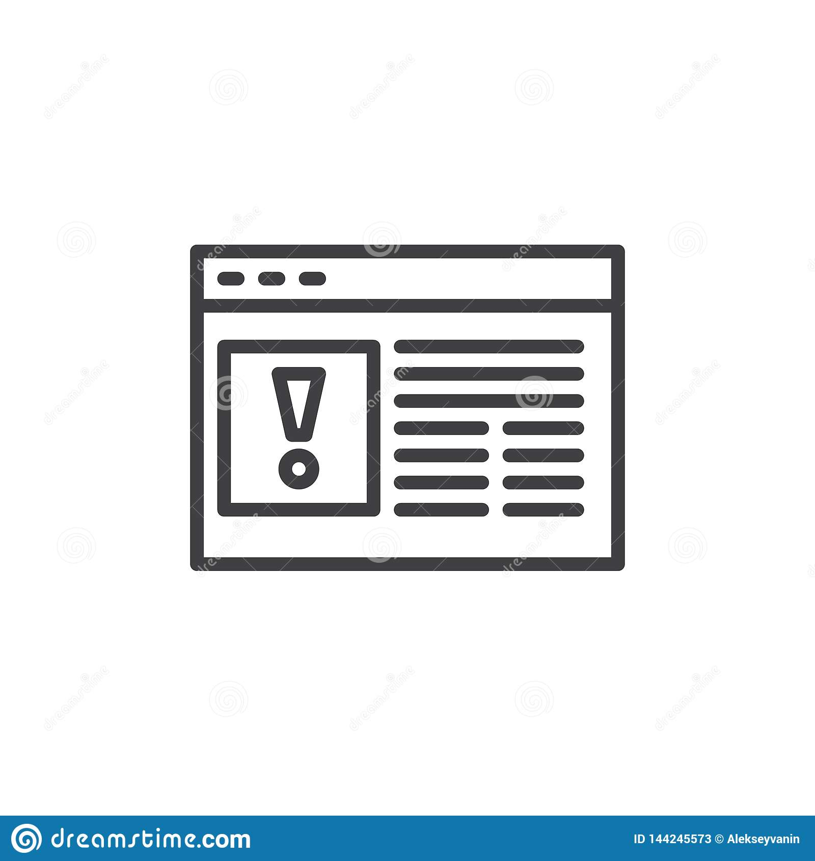 Strona internetowa błędu linii ikona