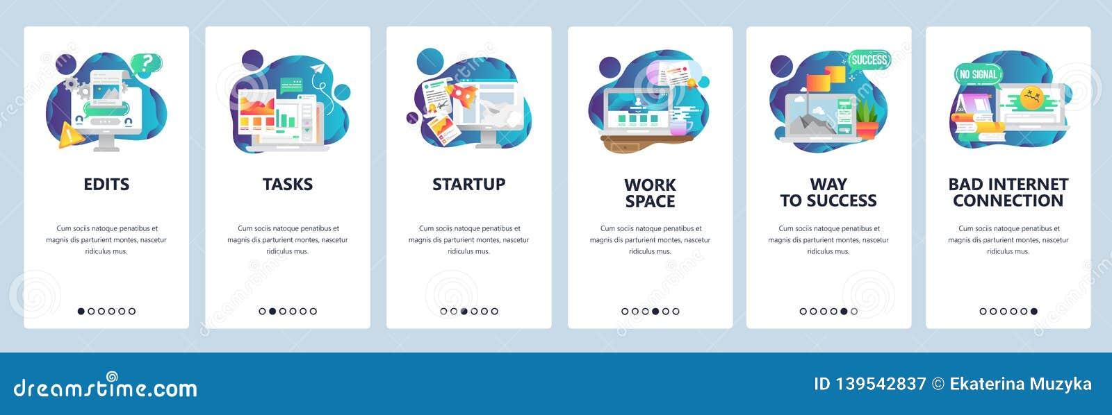 Strona internetowa onboarding ekrany Zarządzanie przedsiębiorstwem i rozwój oprogramowania Menu sztandaru wektorowy szablon dla s