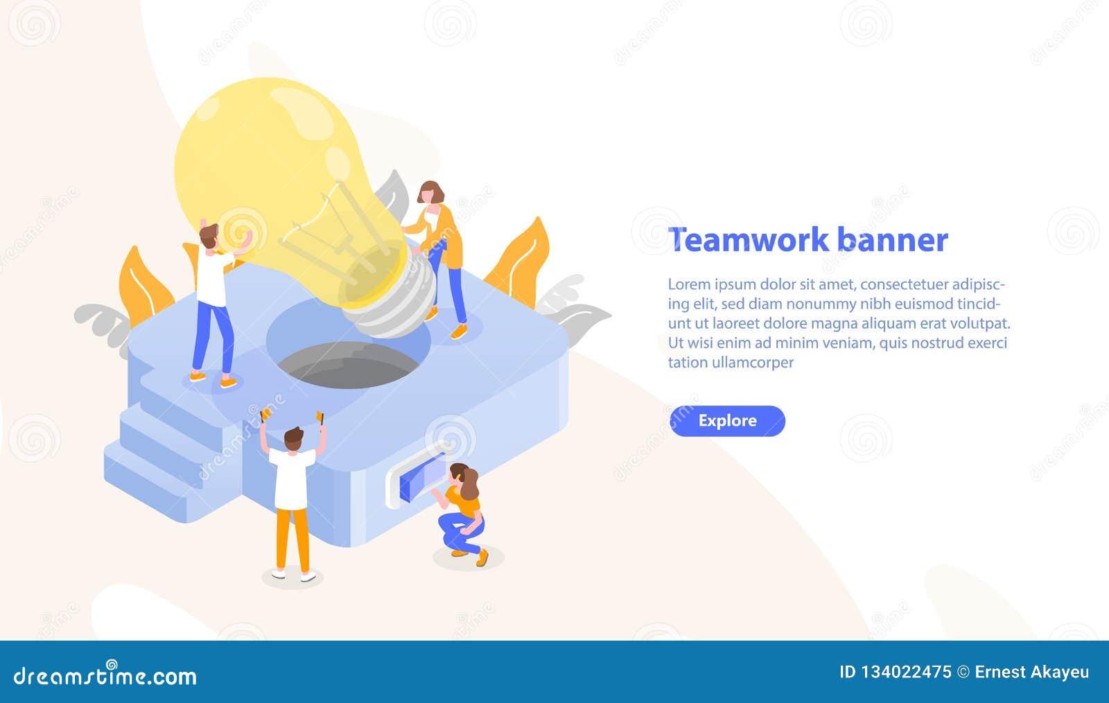Strona internetowa szablon z grupa ludzi kładzenia gigantycznym lightbulb w oprawę oświetleniową i miejsce dla teksta praca zespo