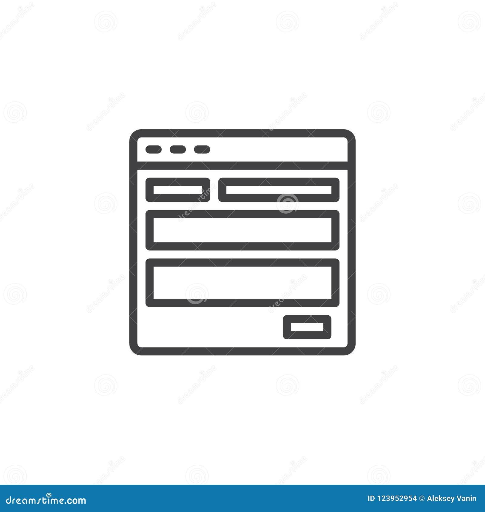 Strona internetowa szablonu konturu ikona