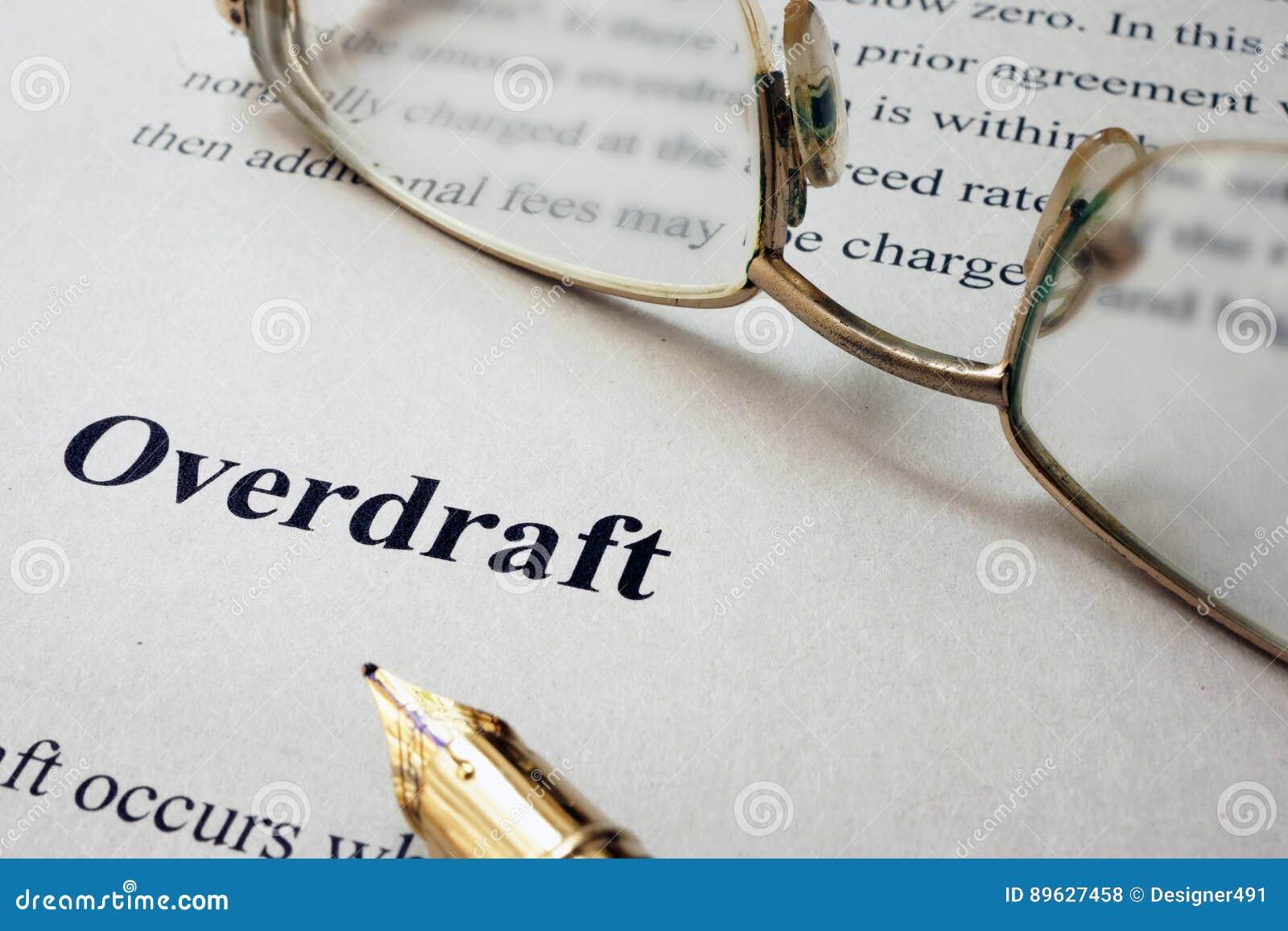 Strona papier z słowa Overdraft