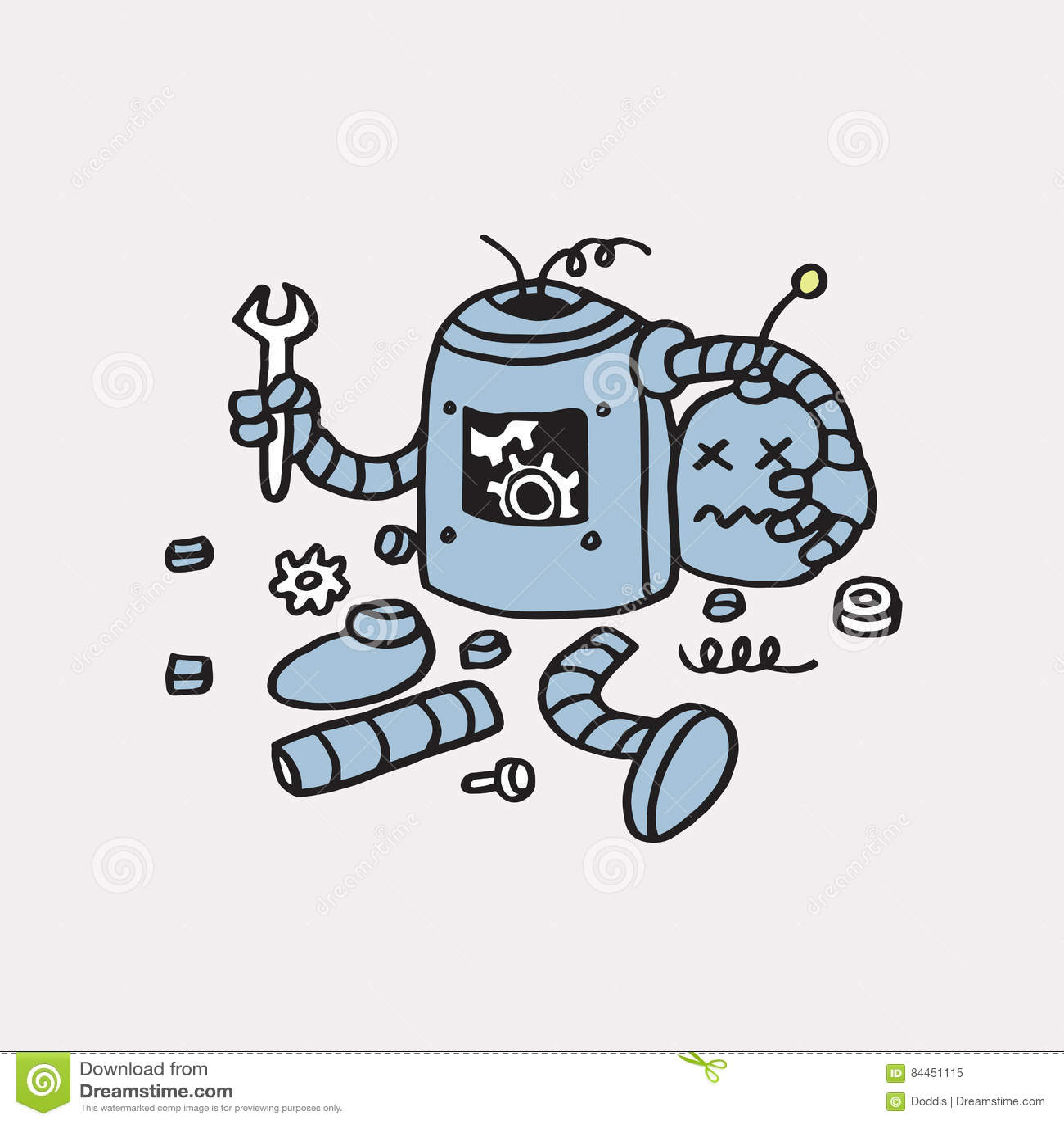Strona znajdujący błąd 404 Łamana ręka Rysujący robota Wektorowy szablon