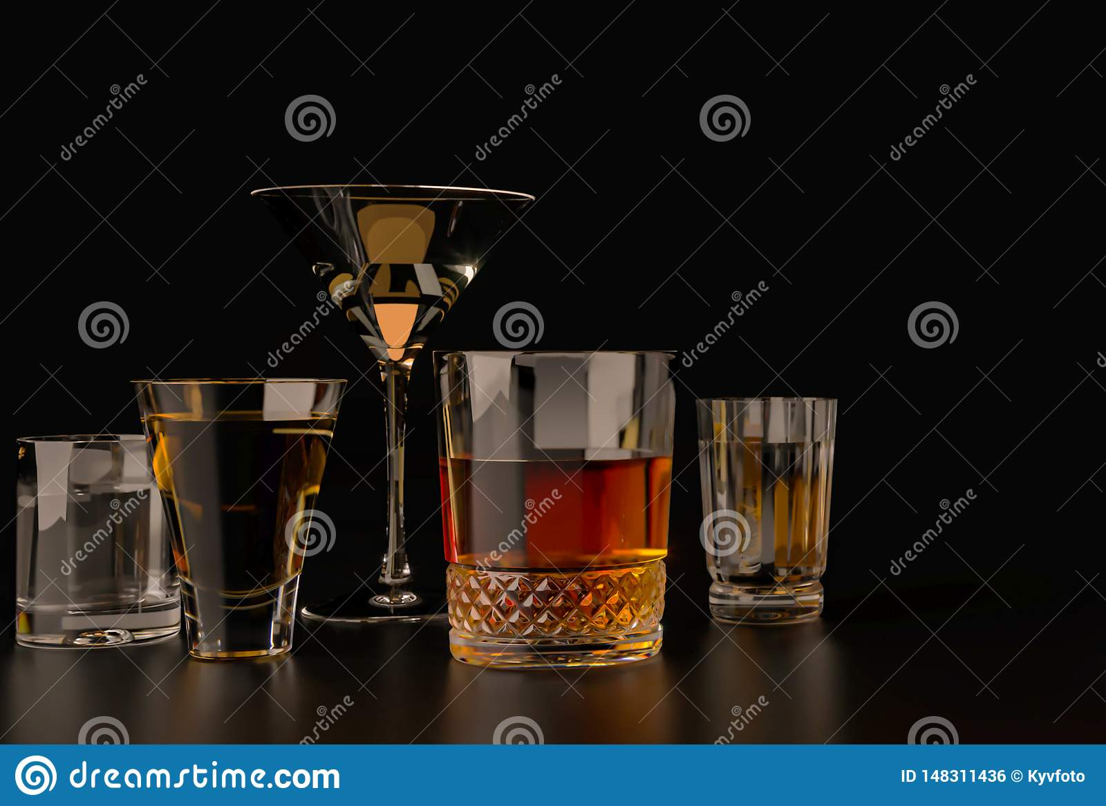 Strong alcoholic drinks, glasses and glasses, in the presence of whiskey, vodka, rum, tequila, brandy, cognac. on a dark old backg