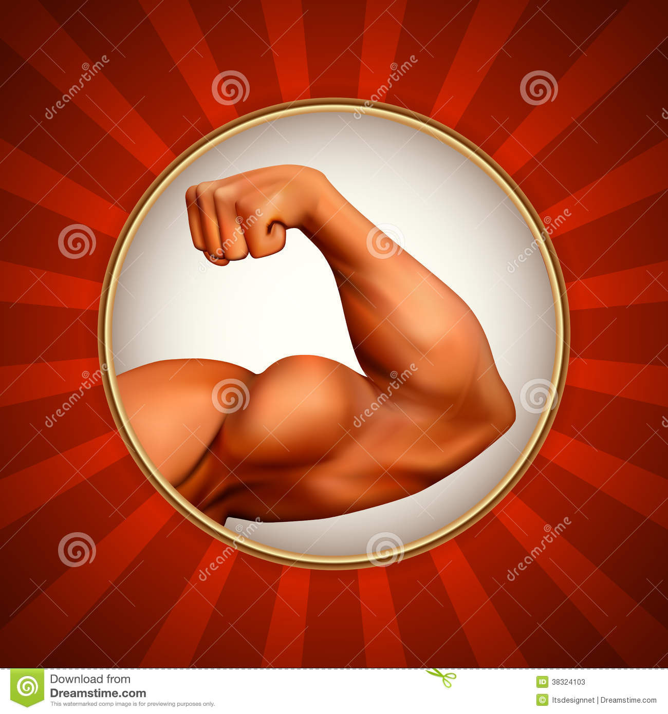 Illustration with detailed strong arm. Power symbol.