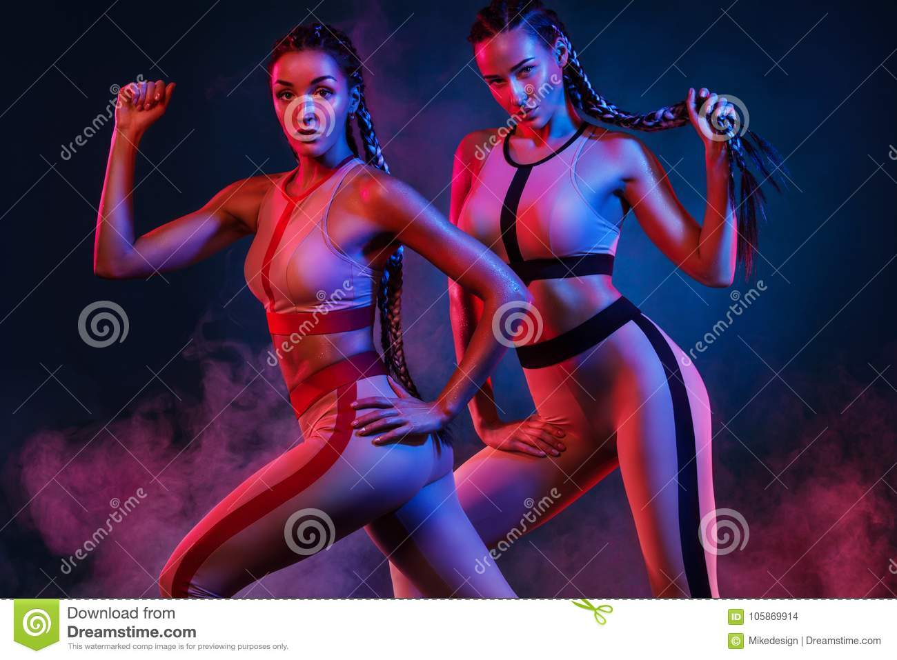 A strong athletic, women on color background wearing in the fashion sportswear, fitness and sport motivation.
