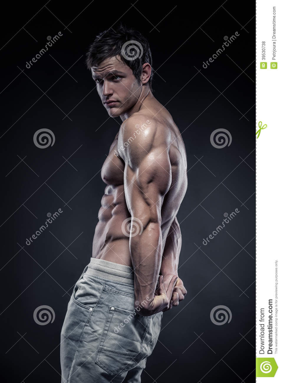 Strong Athletic Man Fitness Model Posing Triceps Muscle ...