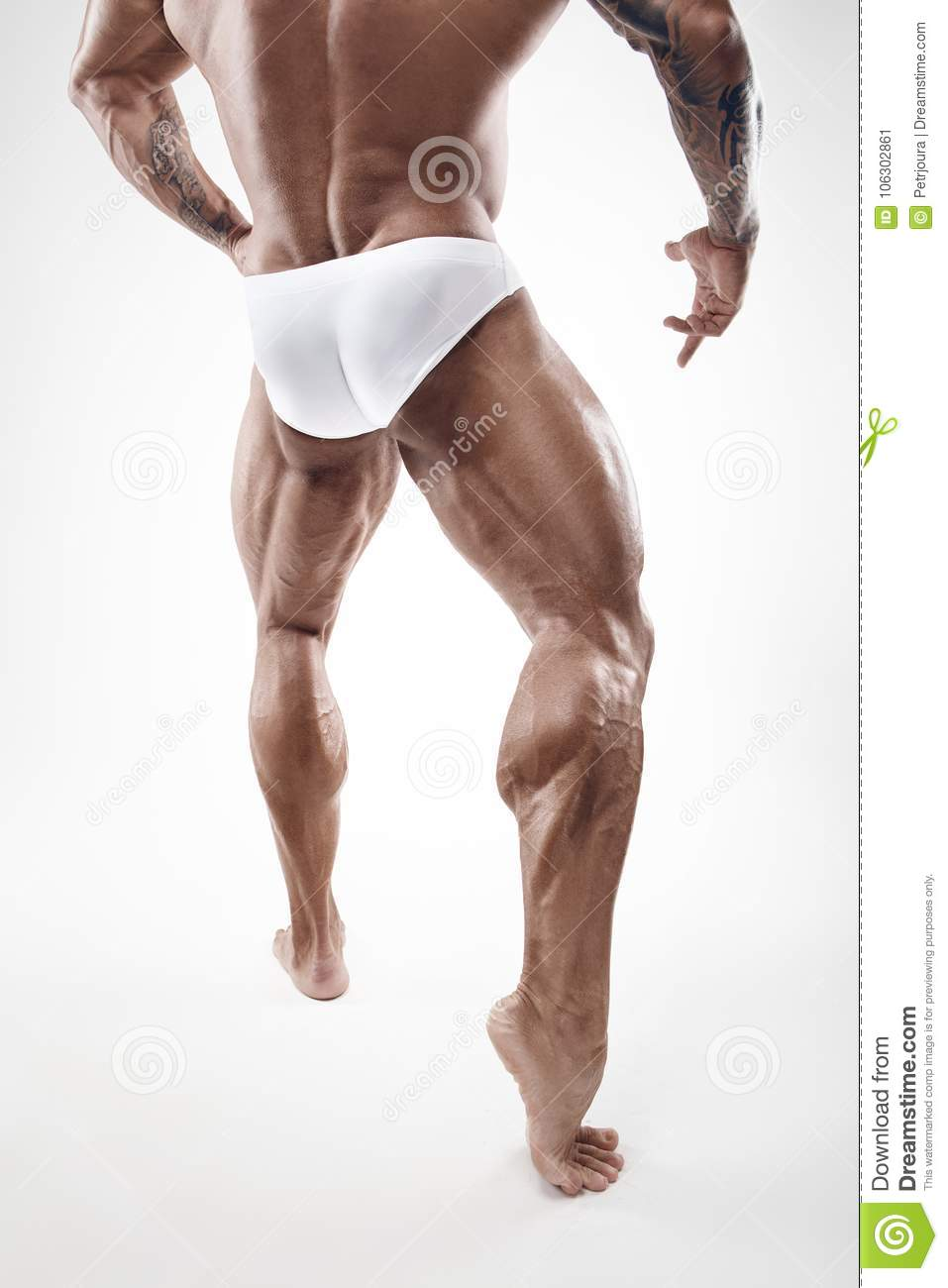 Strong Athletic Man Fitness Model Torso showing naked muscular l