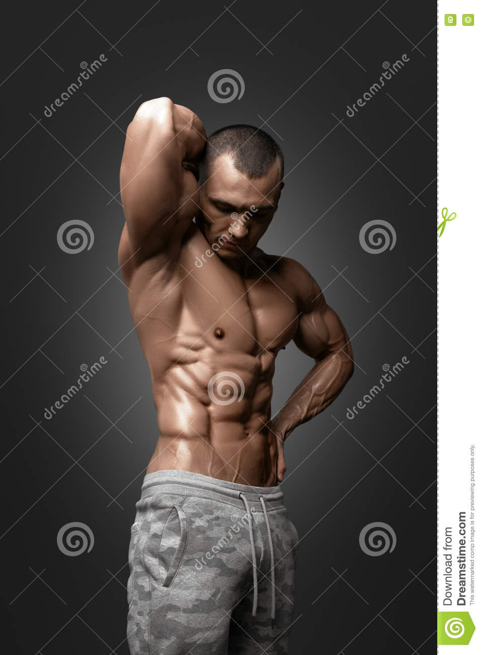 Close Up Perfect Abs. Muscular Male Torso Six Packs. Stock
