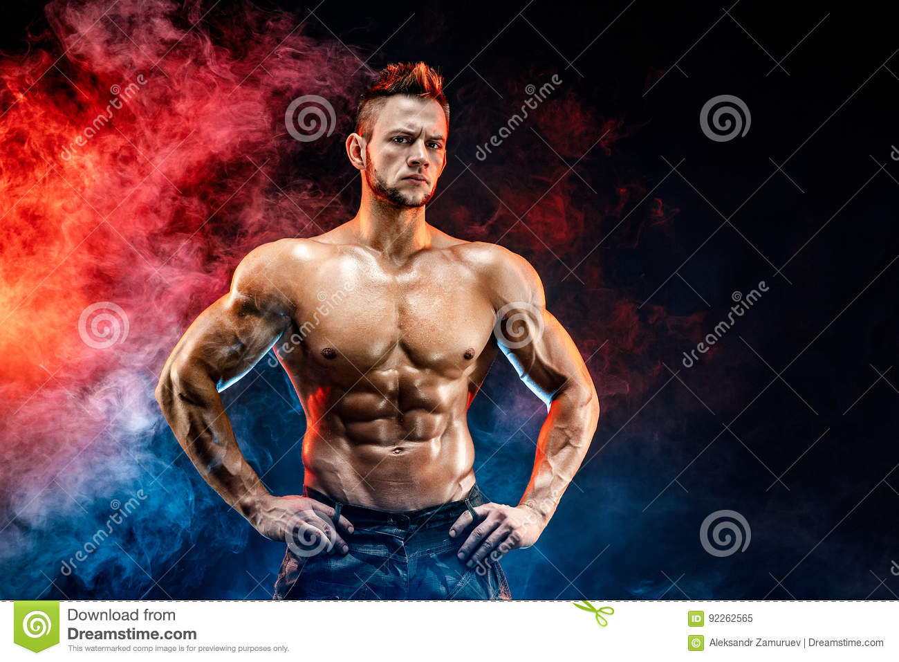 Strong Bodybuilder Man In Military Pants With Perfect Abs