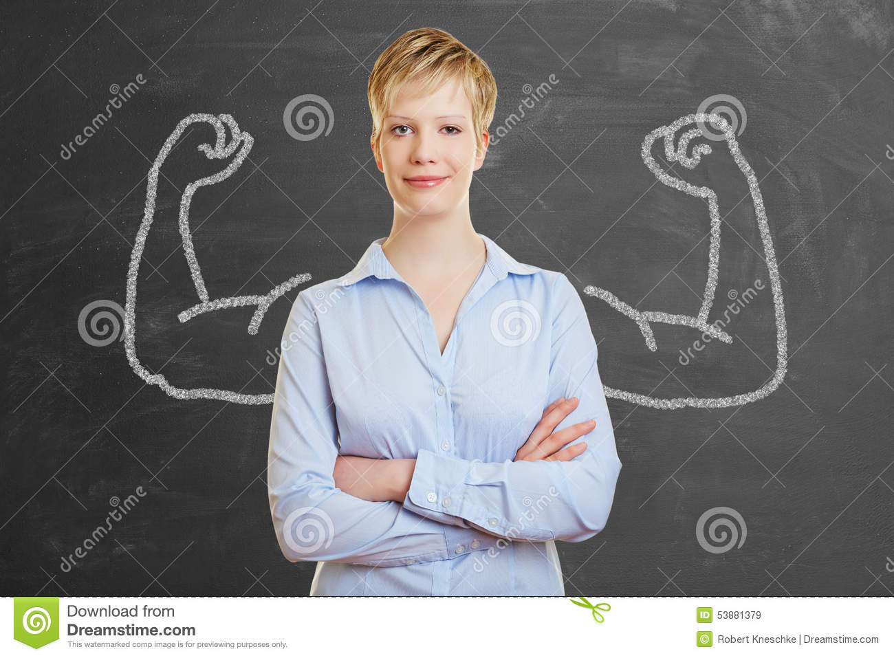Strong business woman with muscles