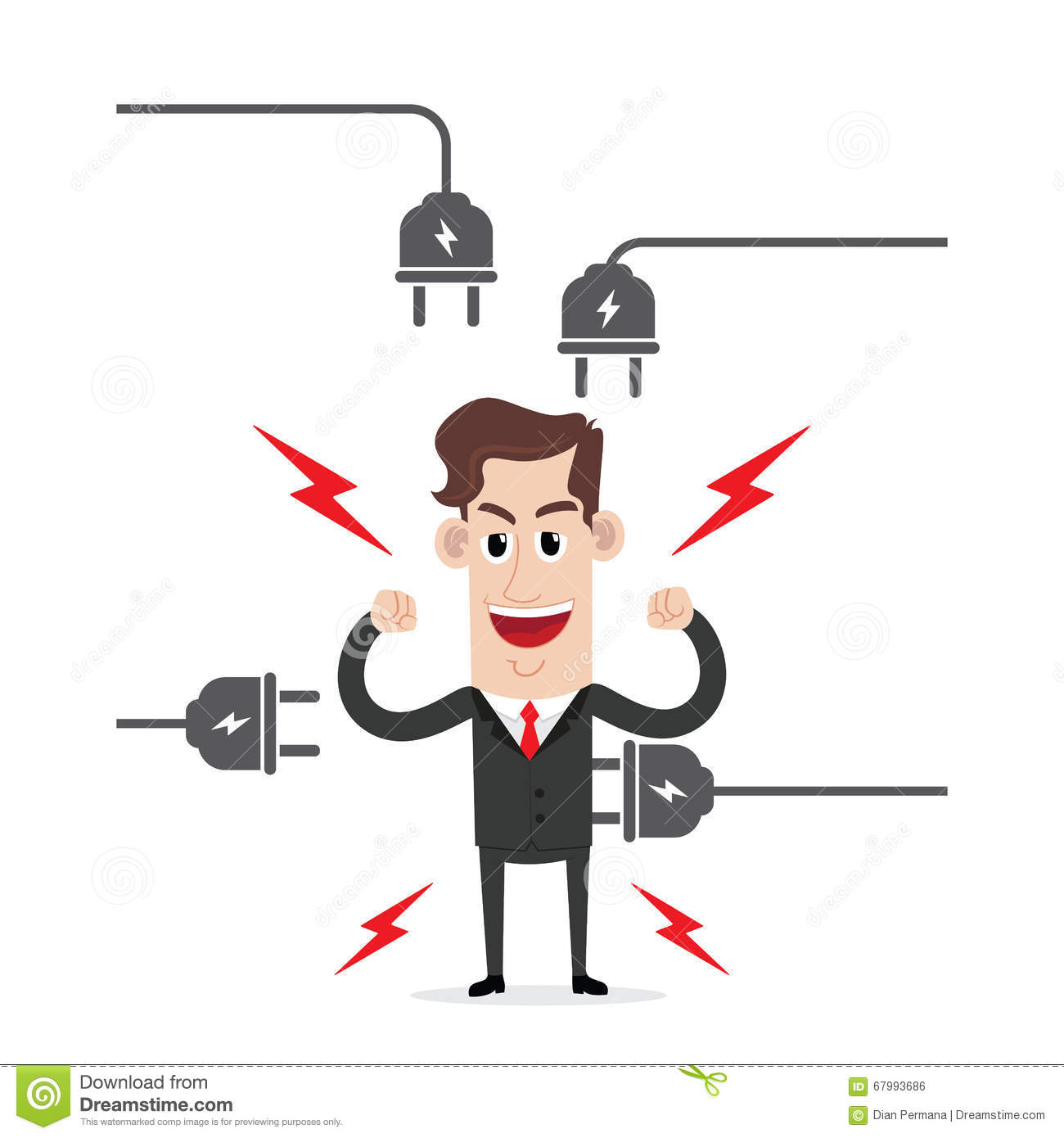 Strong Businessman With Electric Plug Stock Vector Illustration Of