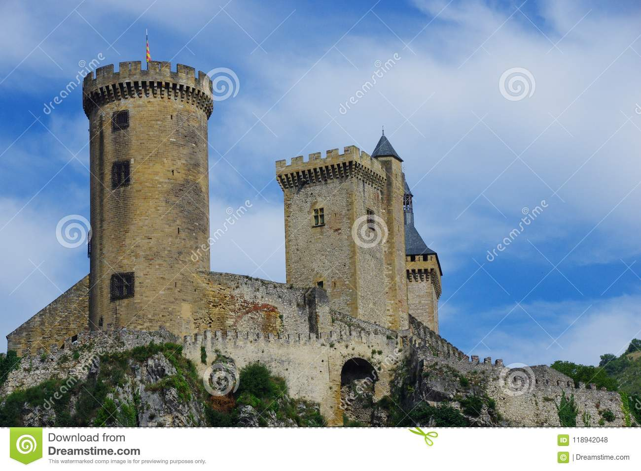 Strong castle of the Middle Ages Foix & x28;France& x29;, is very well preserved.